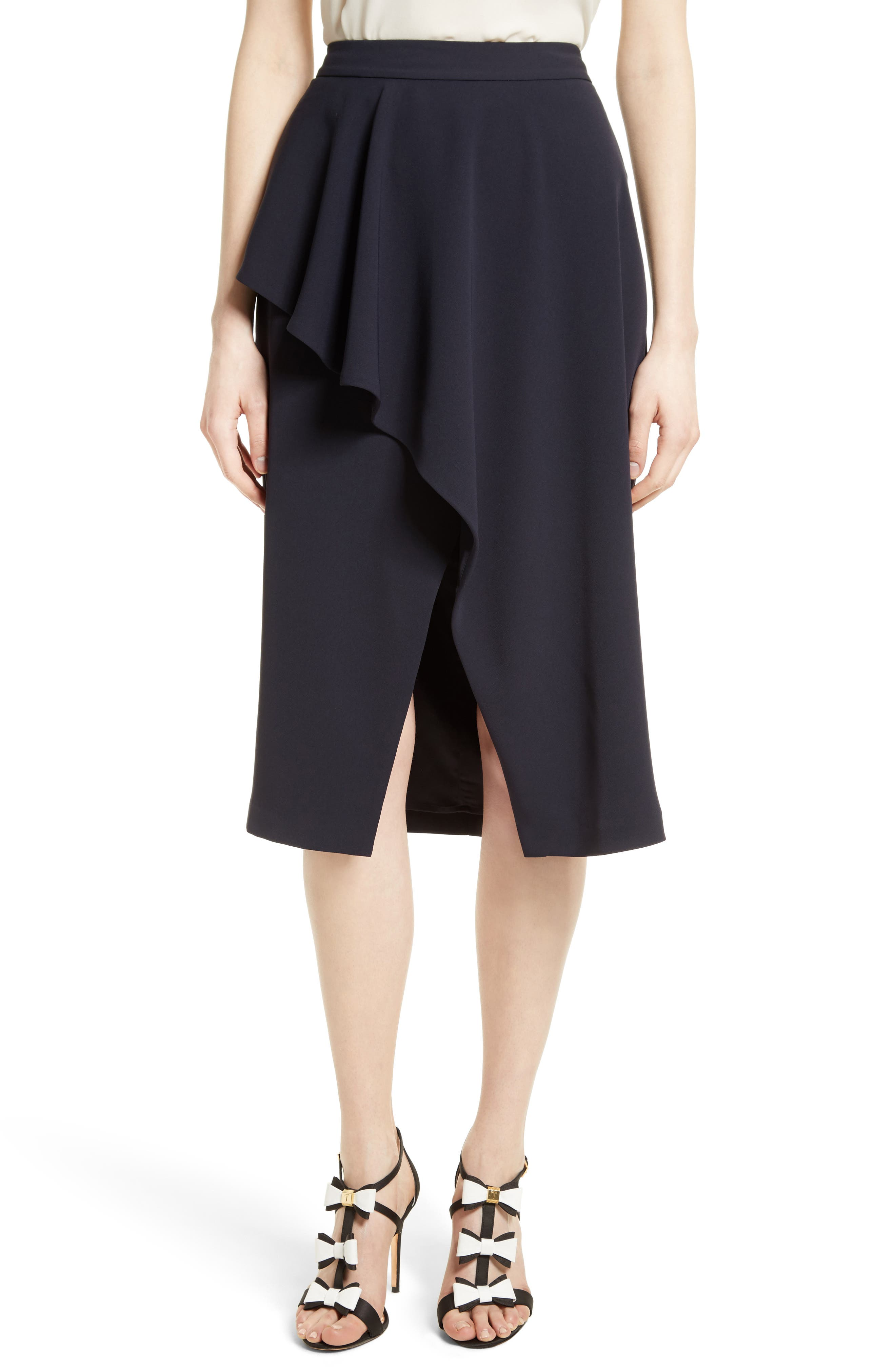 Ted Baker London Daffnie Frill Front Asymmetrical Skirt