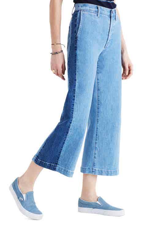 Madewell High Waist Crop Wide Leg Jeans (Ellendale Wash)