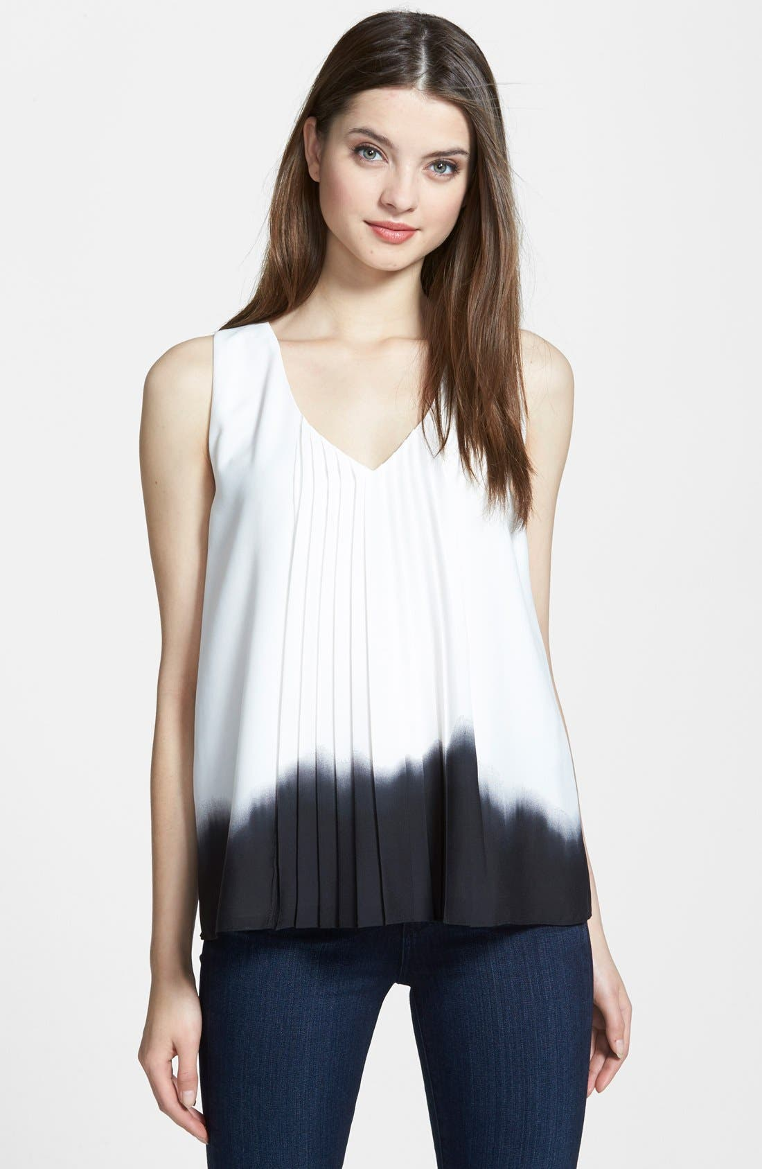 Alternate Image 1 Selected - DKNYC V-Neck Pleat Front Blouse