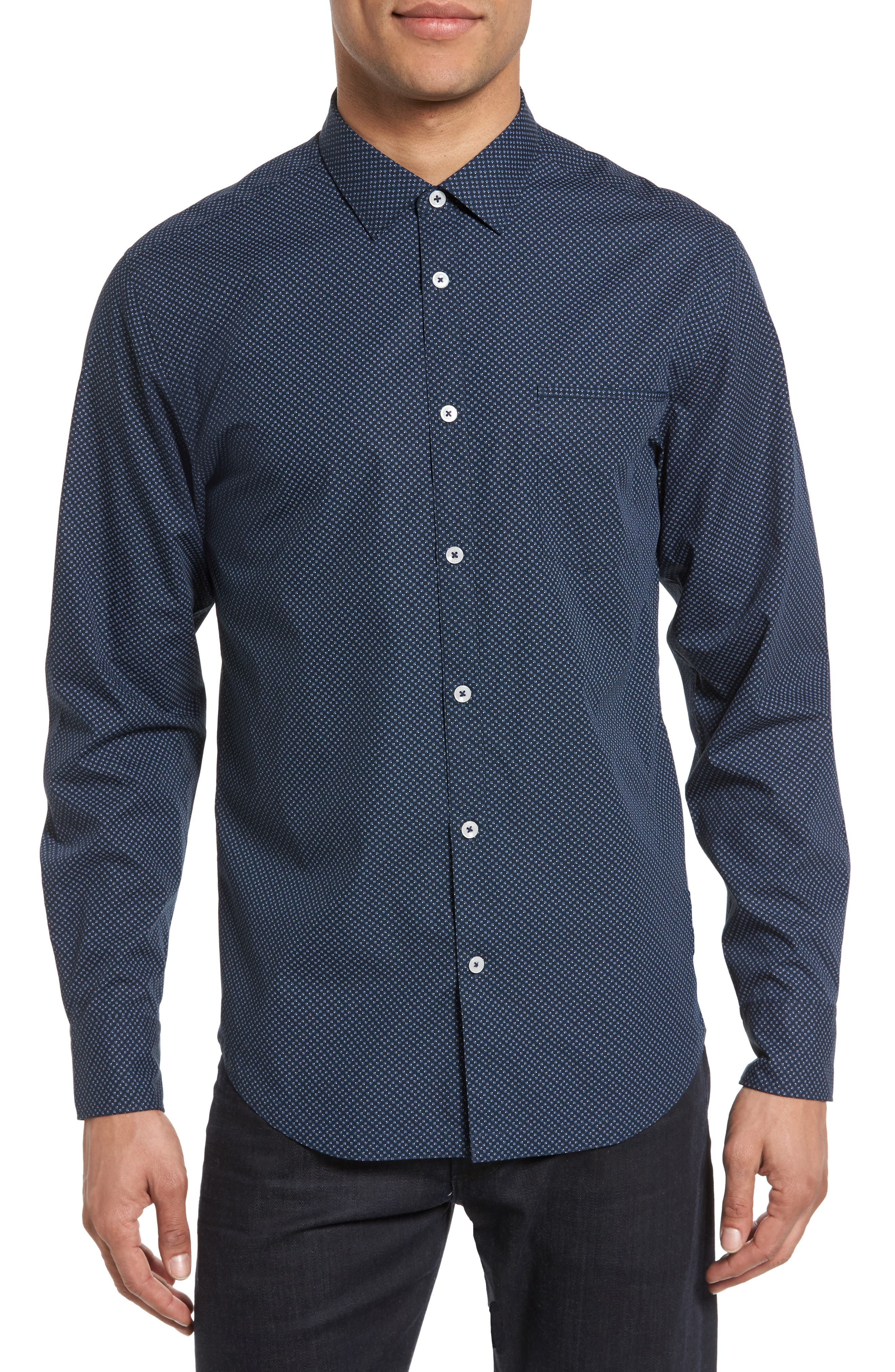 Good Man Brand On Point Trim Fit Print Sport Shirt