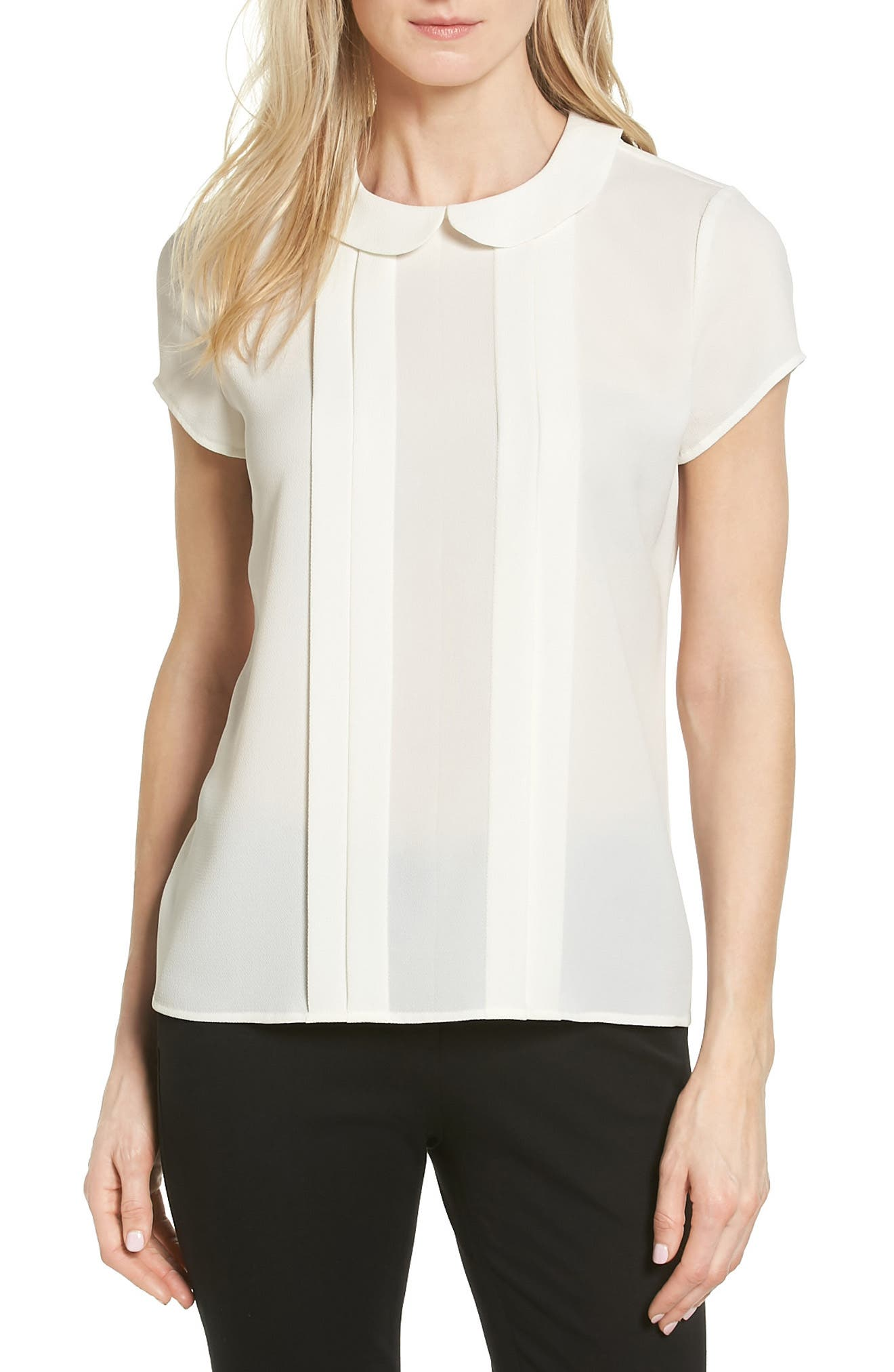 CeCe Pleat Peter Pan Blouse