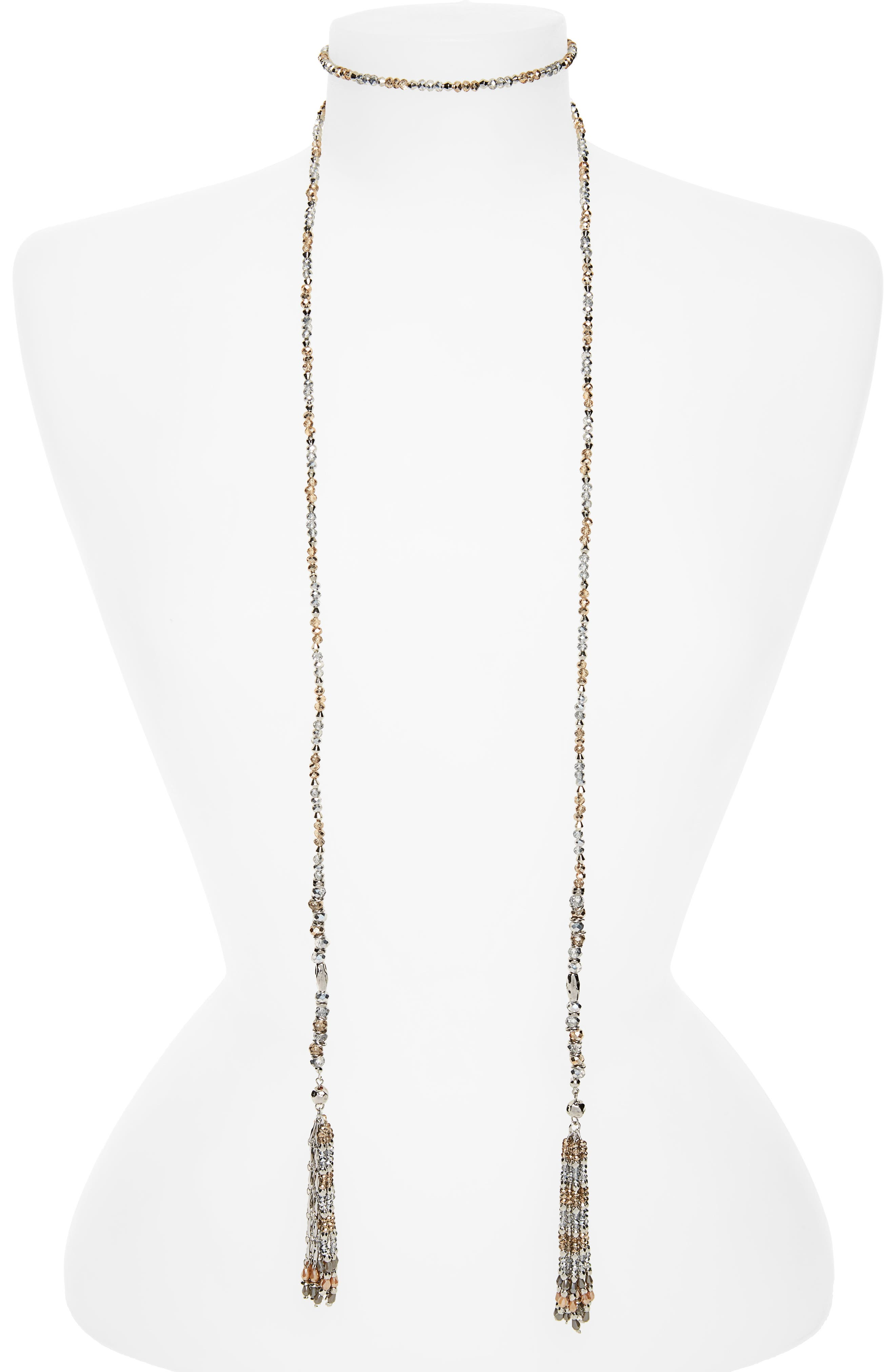 CRISTABELLE Beaded Tassel Lariat Necklace