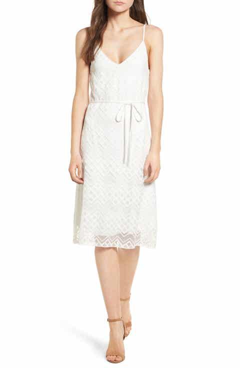 Love, Nickie Lew Tie Waist Lace Midi Dress