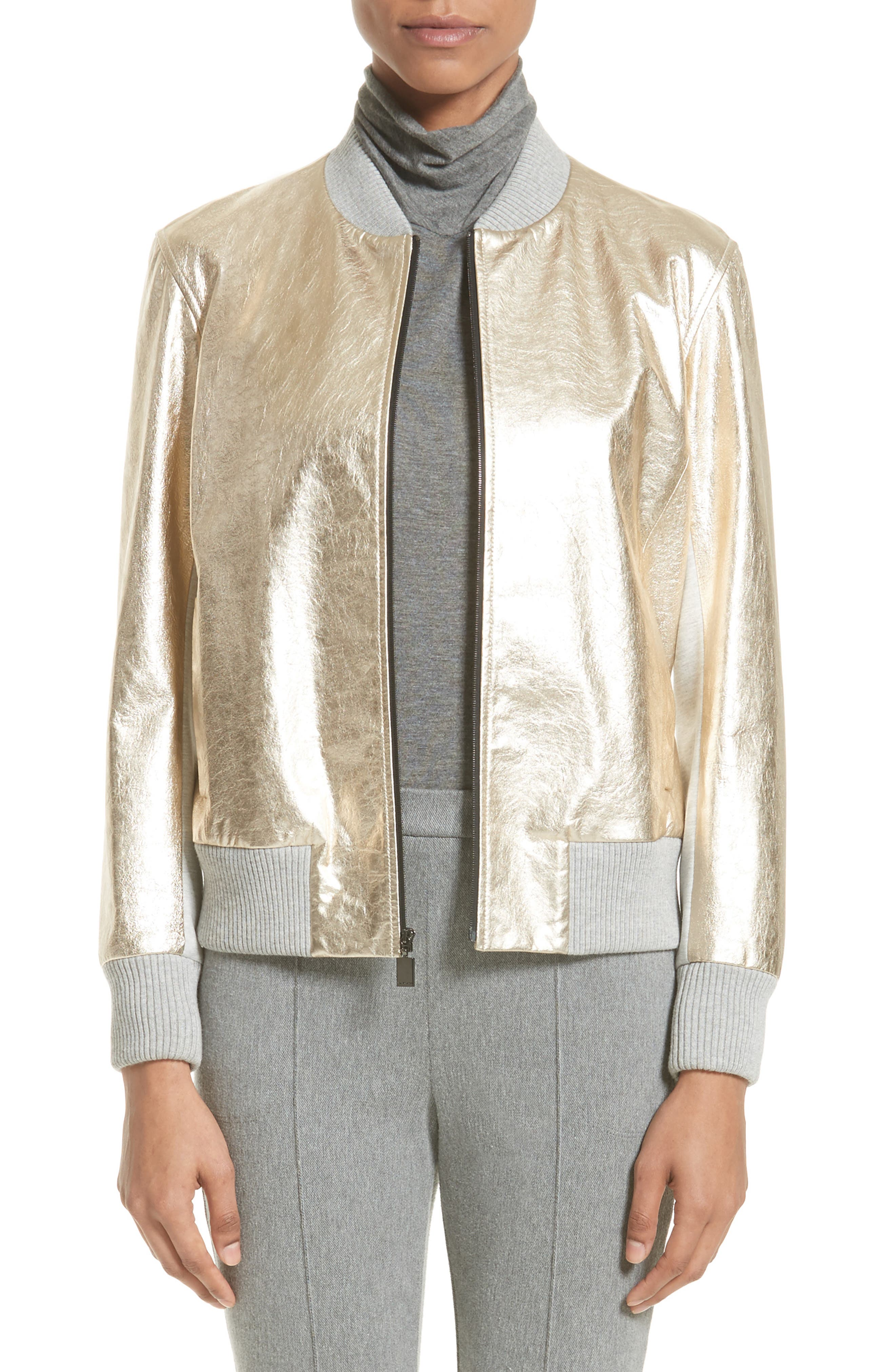 St. John Collection Metallic Leather & Knit Bomber Jacket
