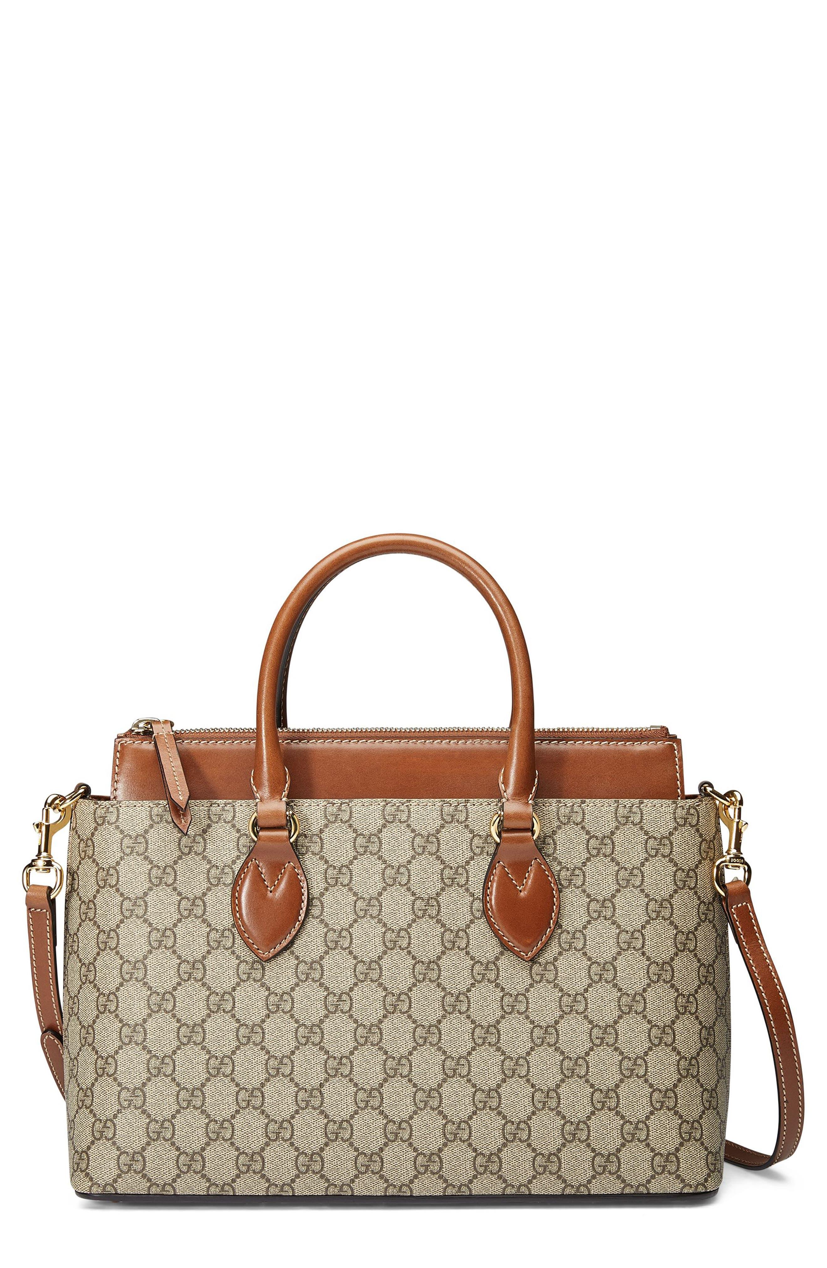 Gucci Small Top Handle GG Supreme Canvas & Leather Tote
