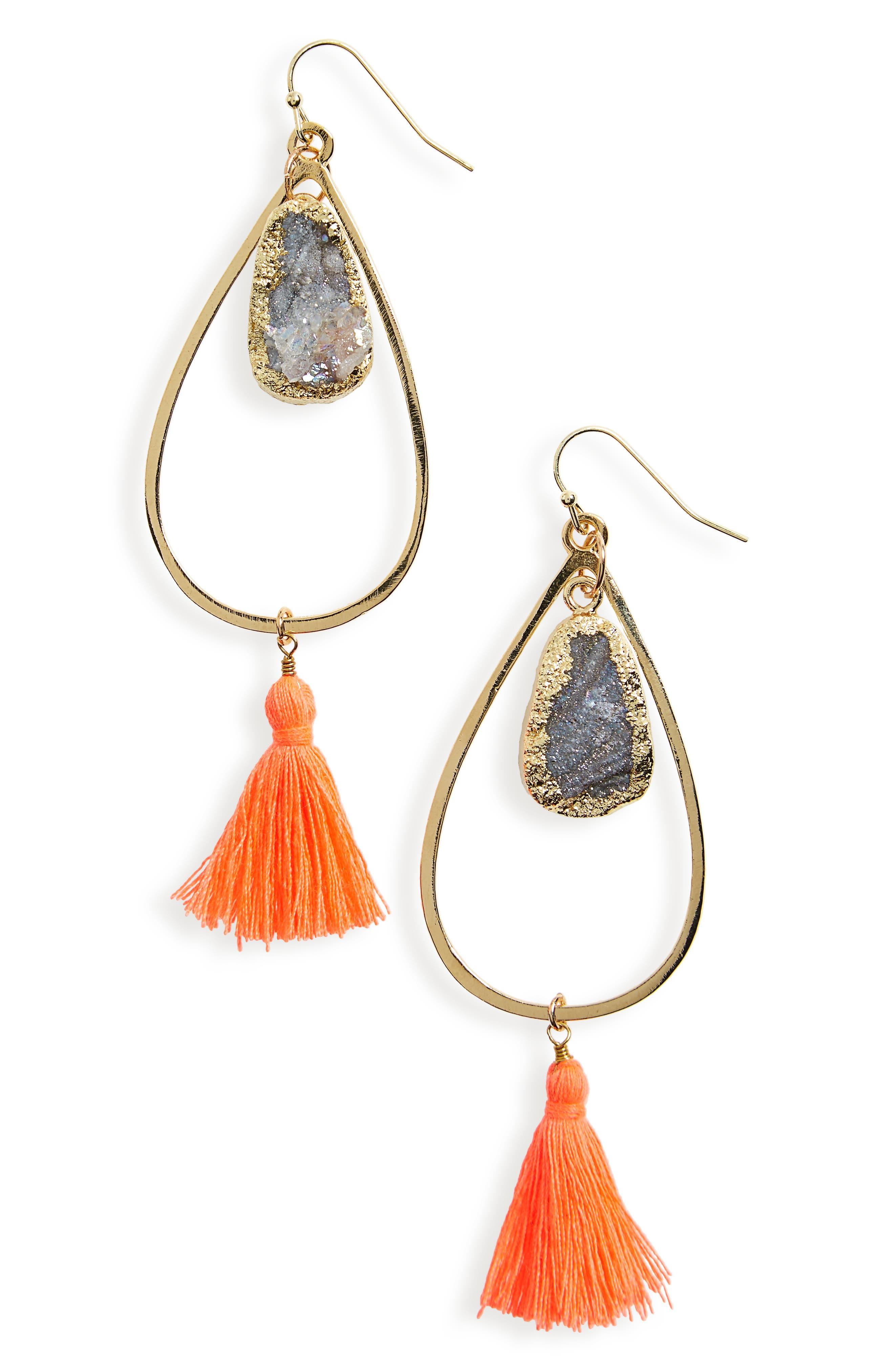 Panacea Teardrop Tassel Earrings