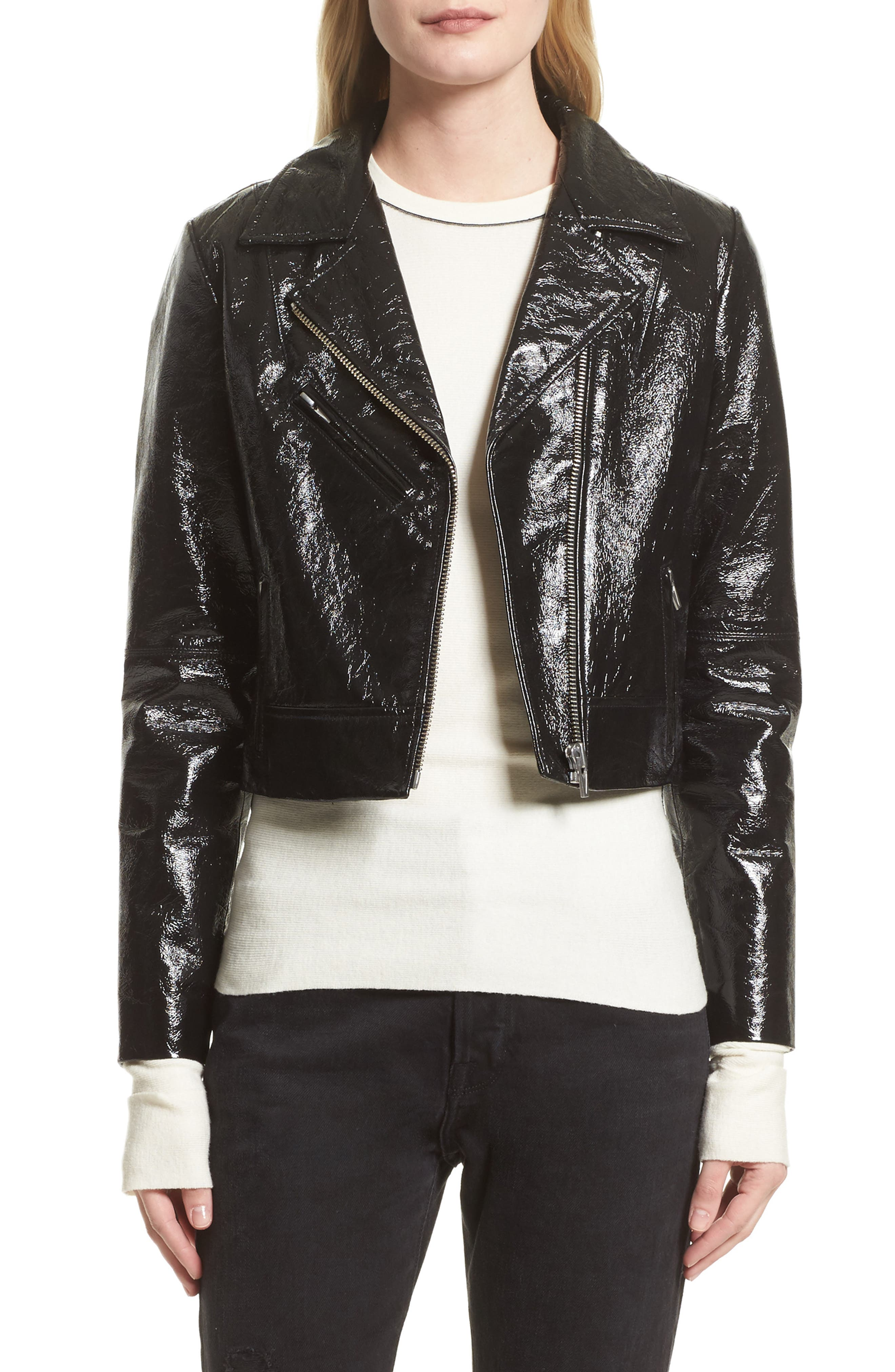 Veda Nova Gloss Leather Moto Jacket (Nordstrom Exclusive)