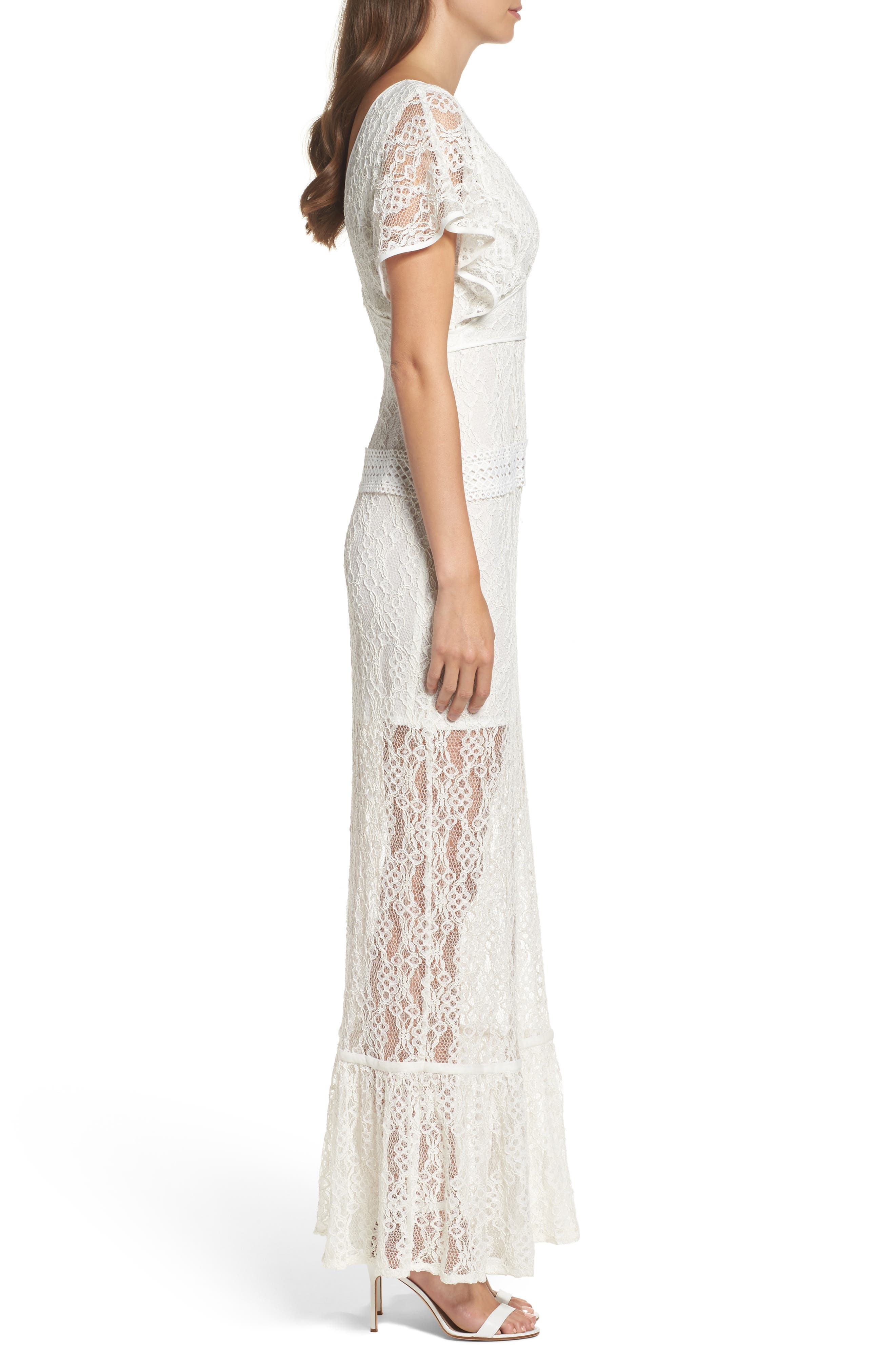 Alternate Image 3  - Foxiedox Cecilia Lace Sheath Gown