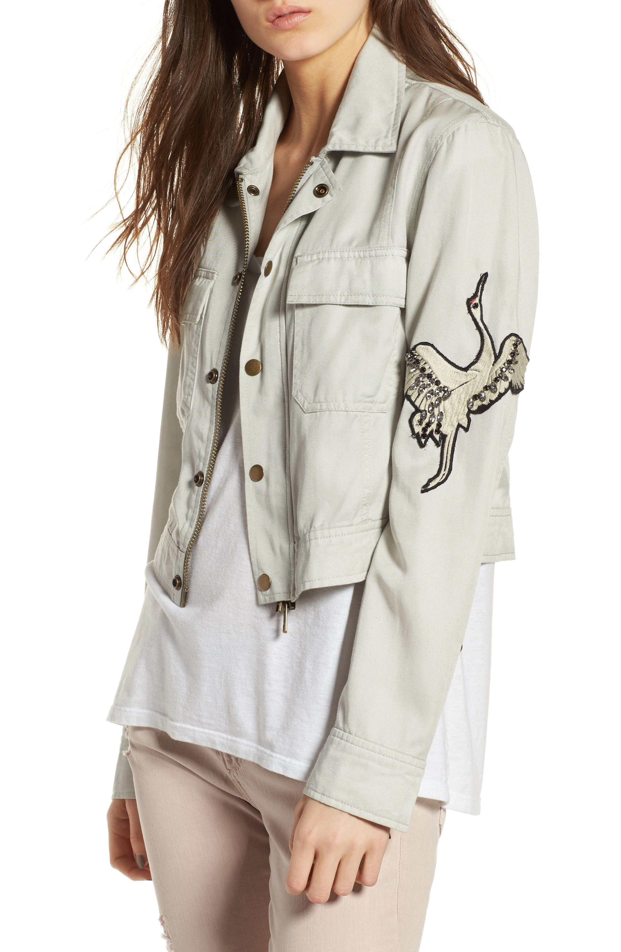 Pam & Gela Embroidered Crane Cargo Jacket