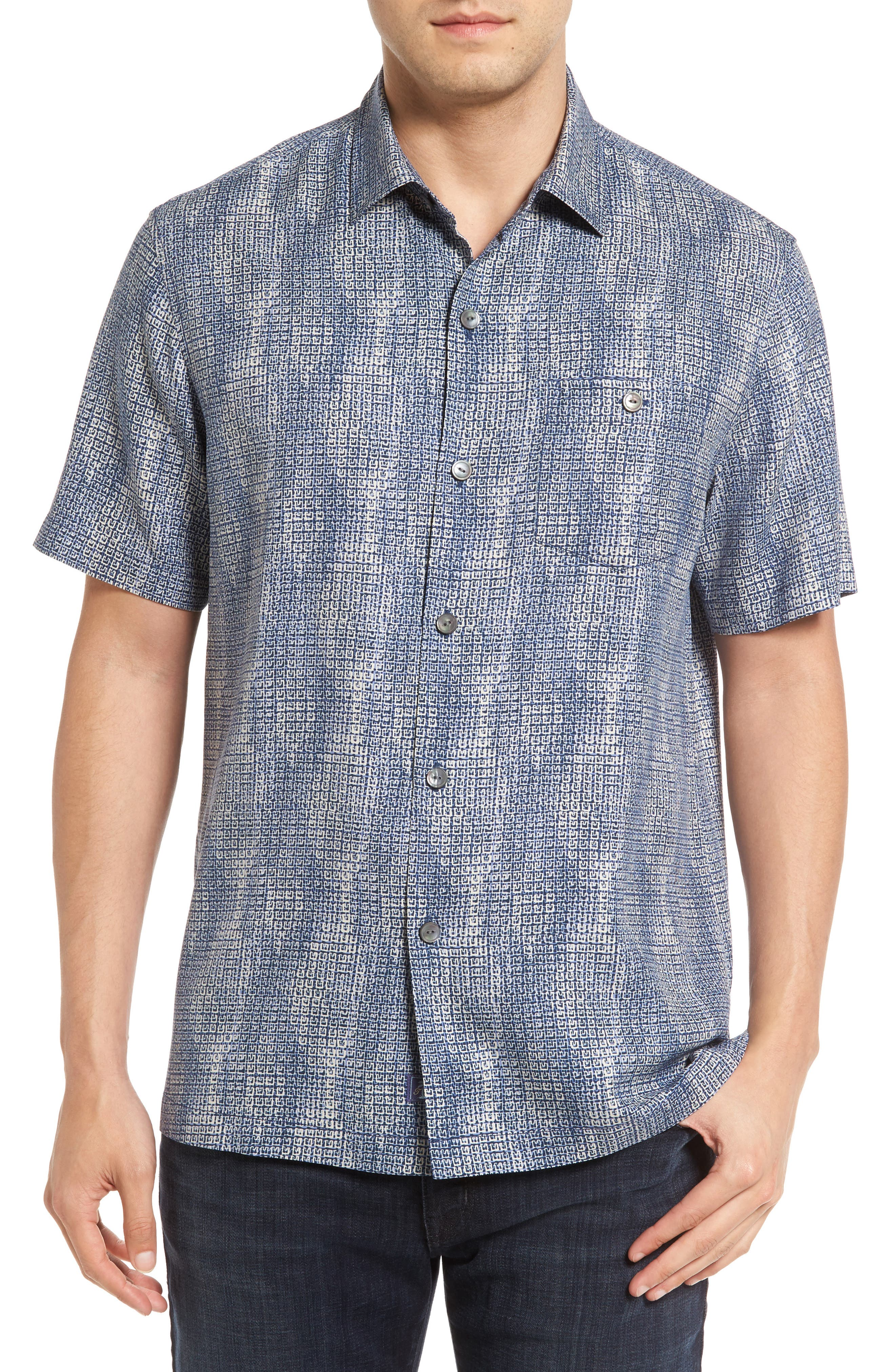 Tommy Bahama Geo Dream Standard Fit Silk Camp Shirt