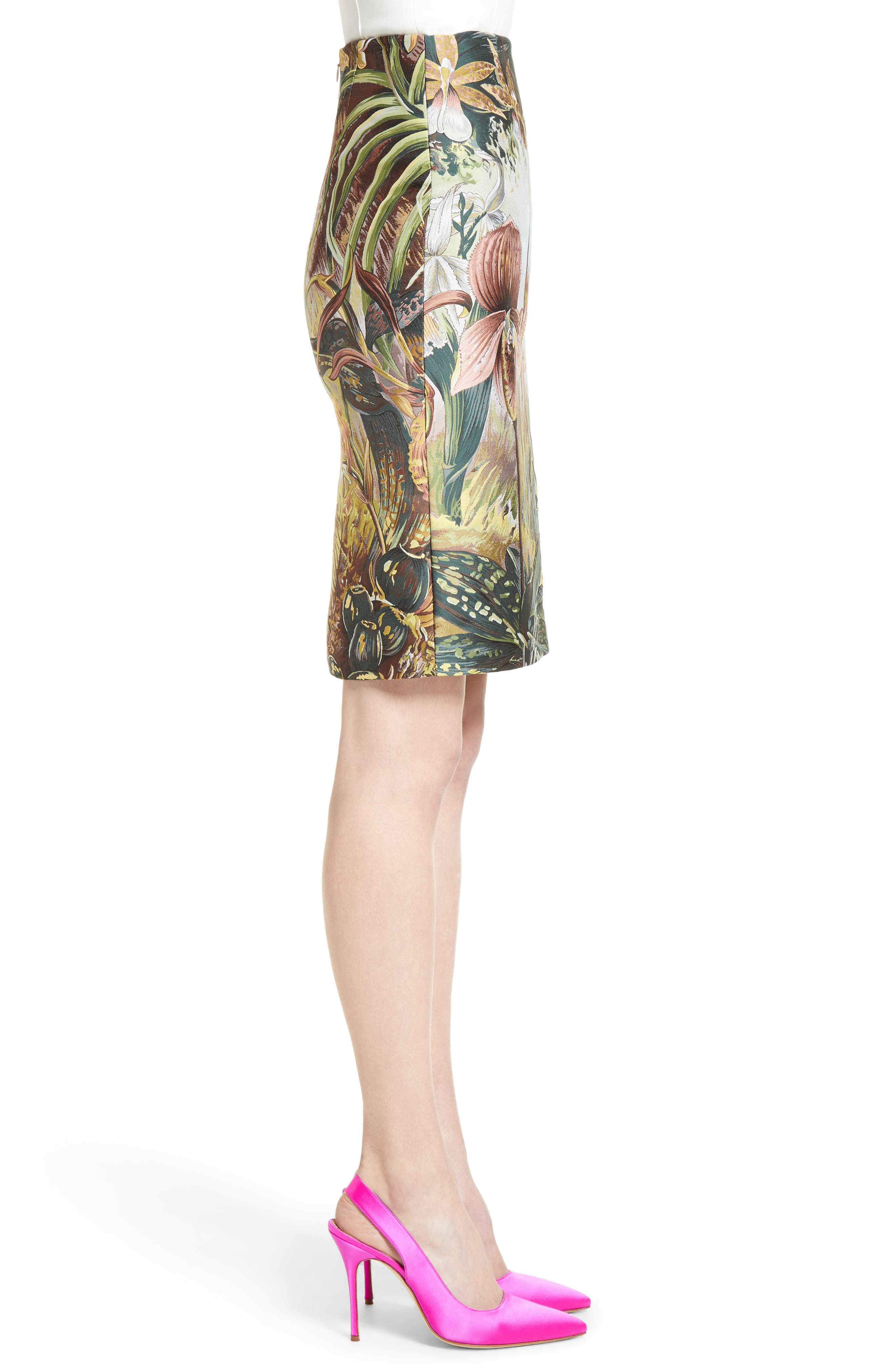 Alternate Image 5  - Adam Lippes Orchid Print Jacquard Pencil Skirt