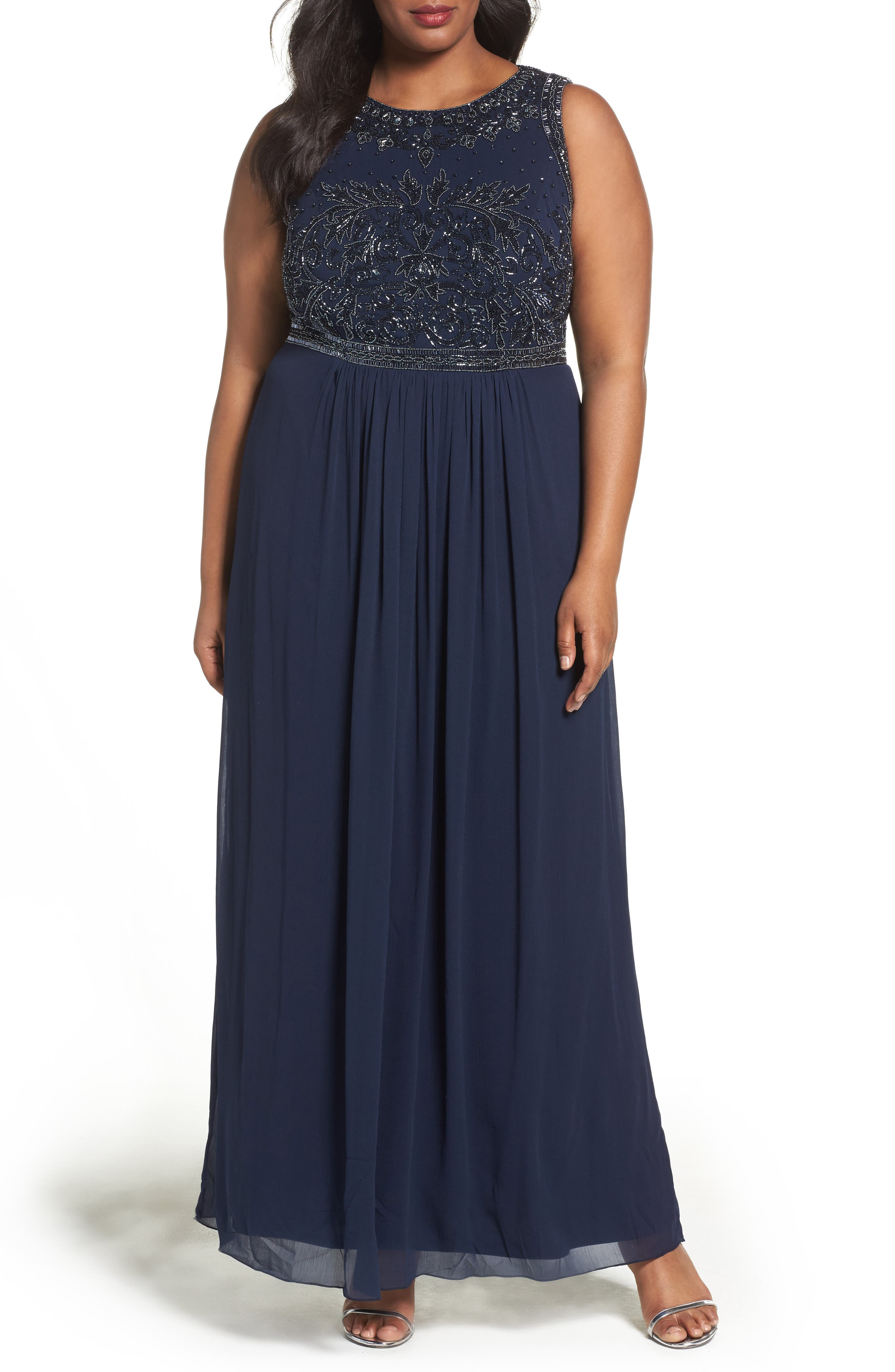 Adrianna Papell Beaded Chiffon A-Line Gown (Plus Size)