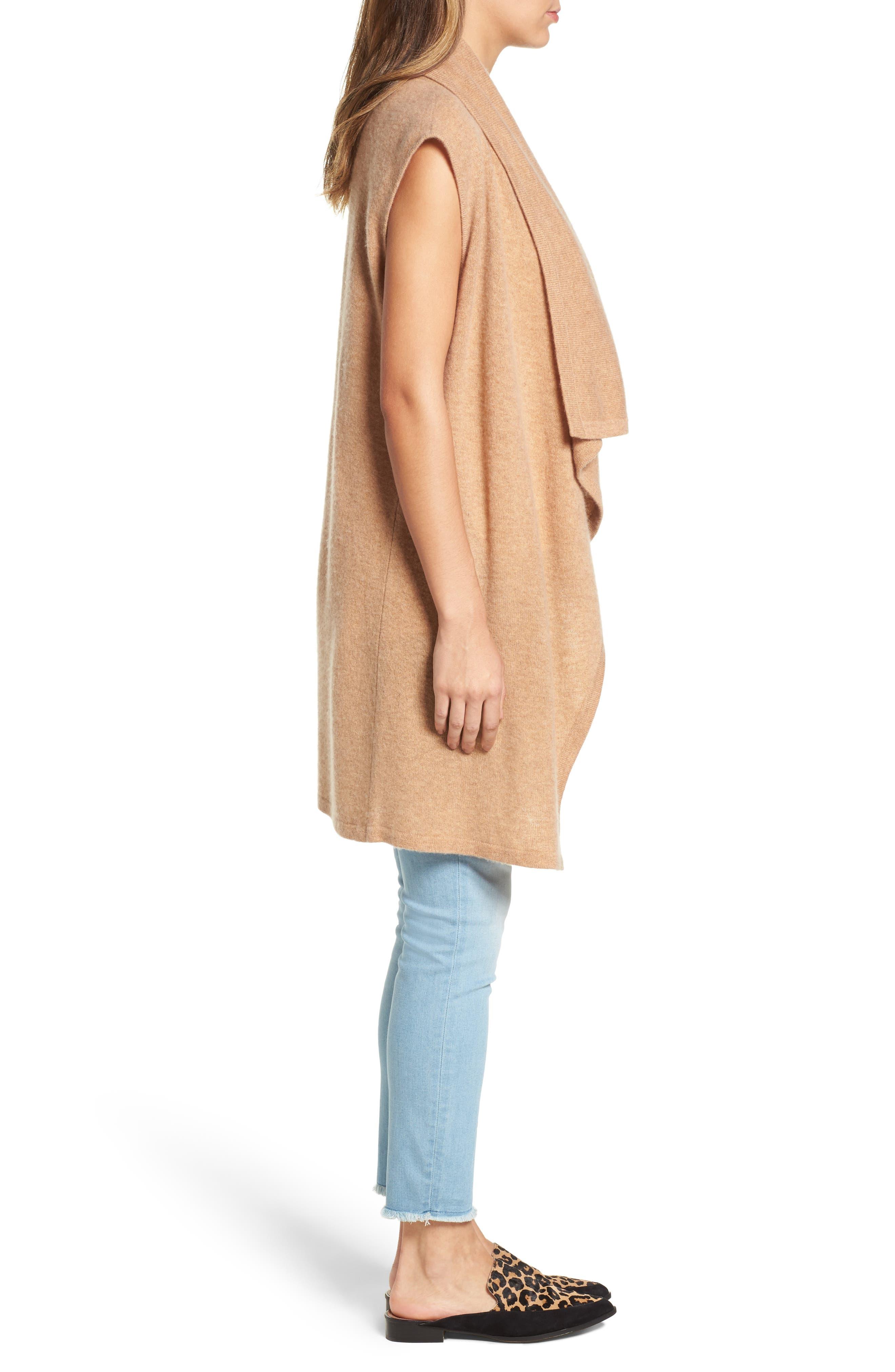Alternate Image 3  - Halogen® Waterfall Drape Front Cashmere Vest
