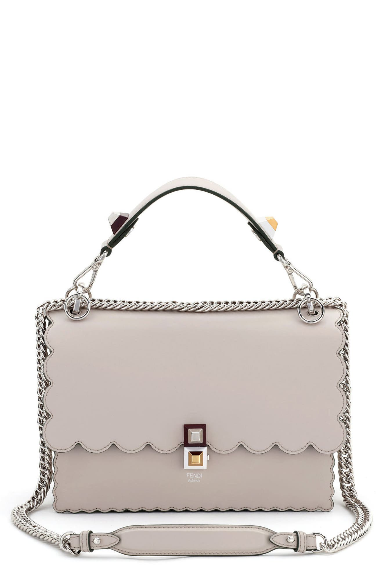 Alternate Image 1 Selected - Fendi Kan I Scallop Leather Shoulder Bag