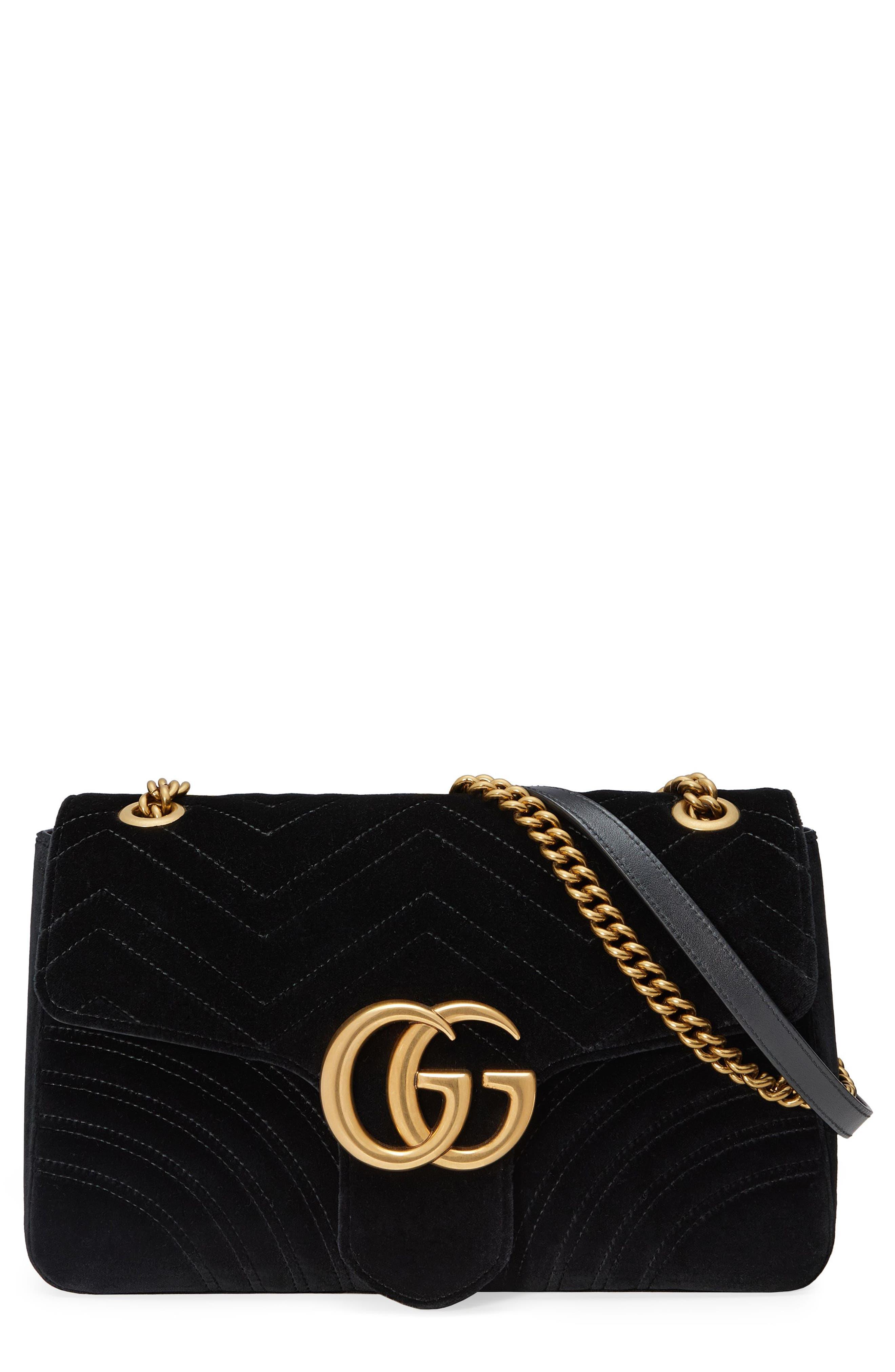 Alternate Image 1 Selected - Gucci Medium GG Marmont 2.0 Matelassé Velvet Shoulder Bag