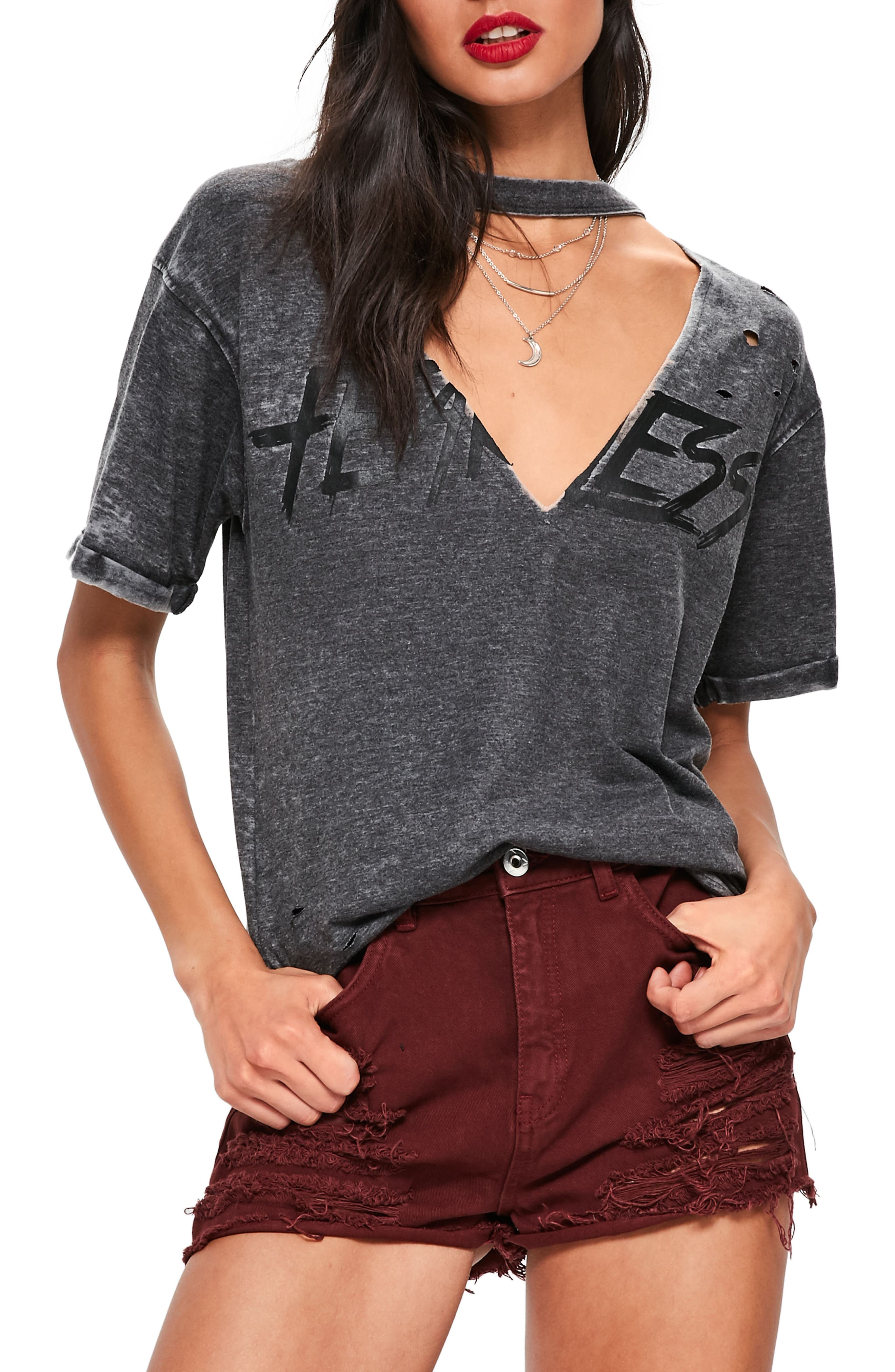 Main Image - Missguided Distressed Choker Neck Graphic Tee