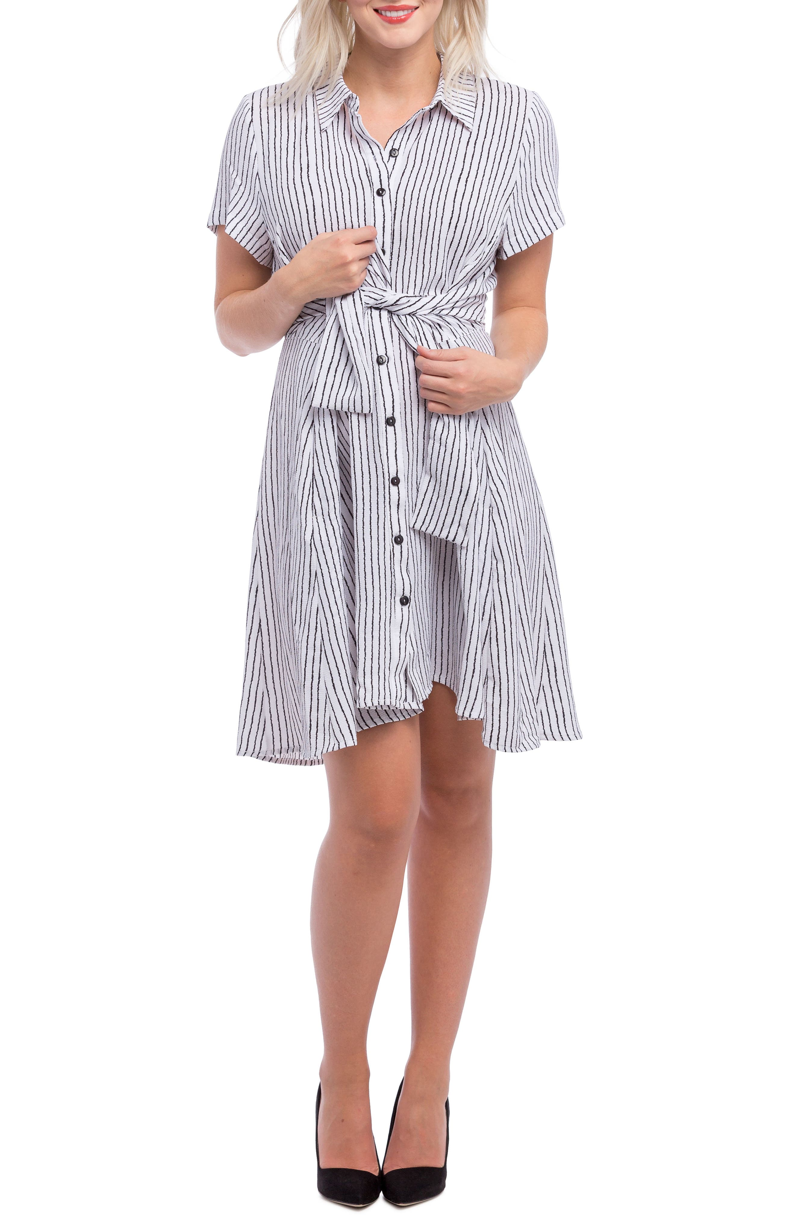 Lilac Clothing Stripe Maternity Shirt Dress