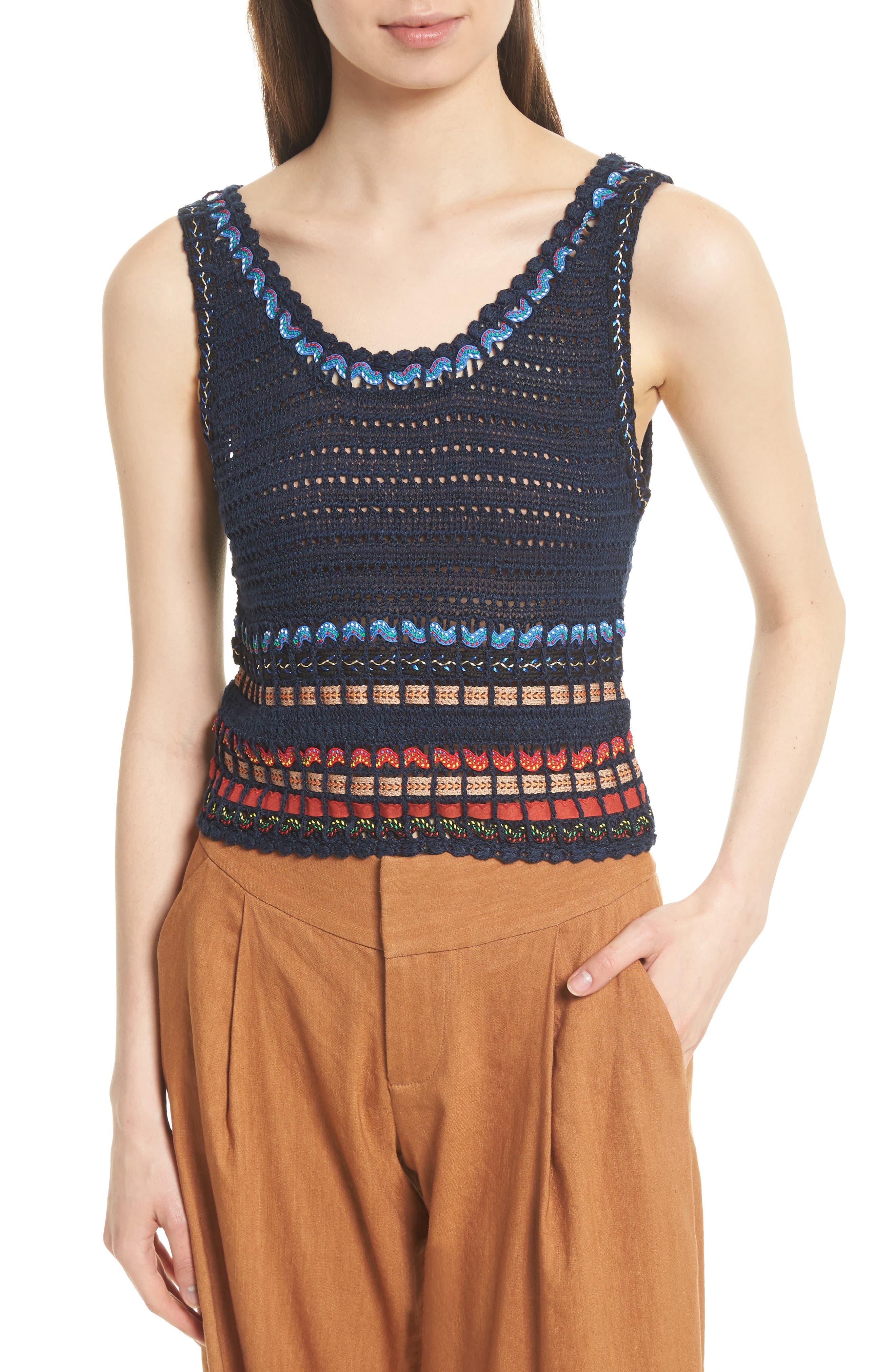 Alice + Olivia Dorian Ribbon Weave Tank