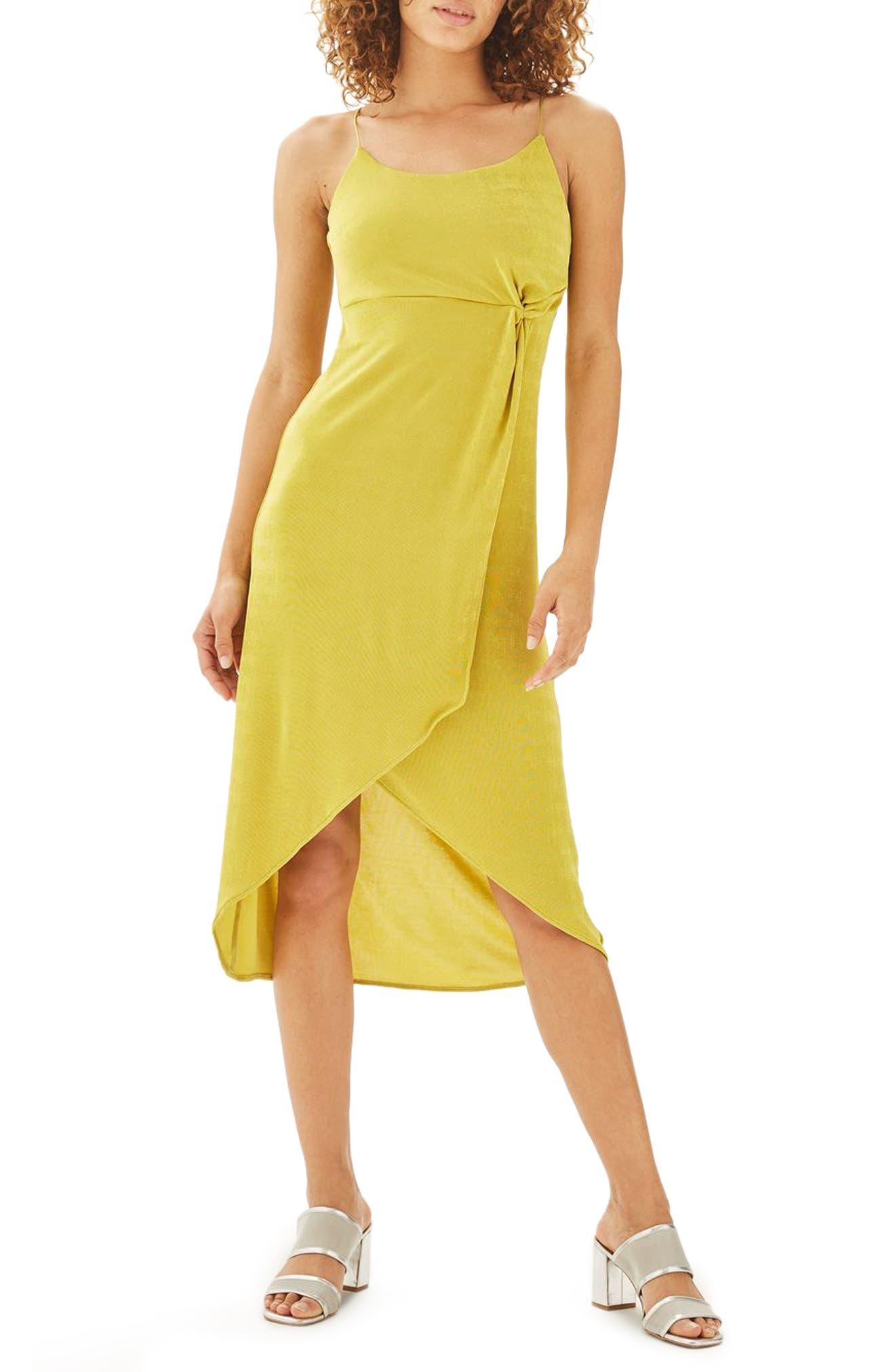Topshop Knot Slinky Midi Dress