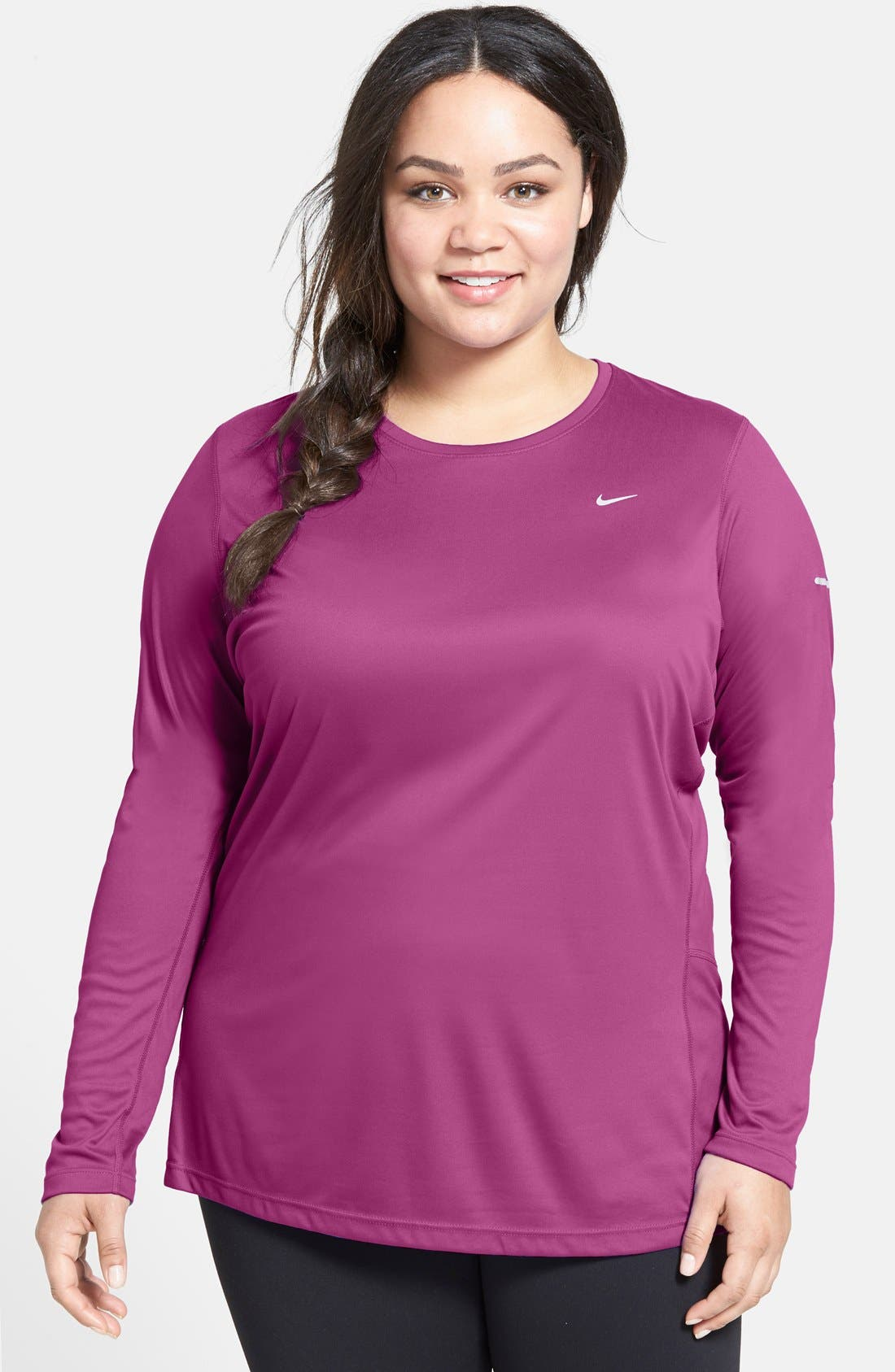 Alternate Image 1 Selected - Nike 'Miler' Long Sleeve Dri-FIT Tee (Plus Size)