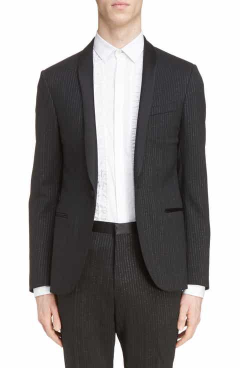 Lanvin Metallic Stripe Shawl Collar Tuxedo Jacket