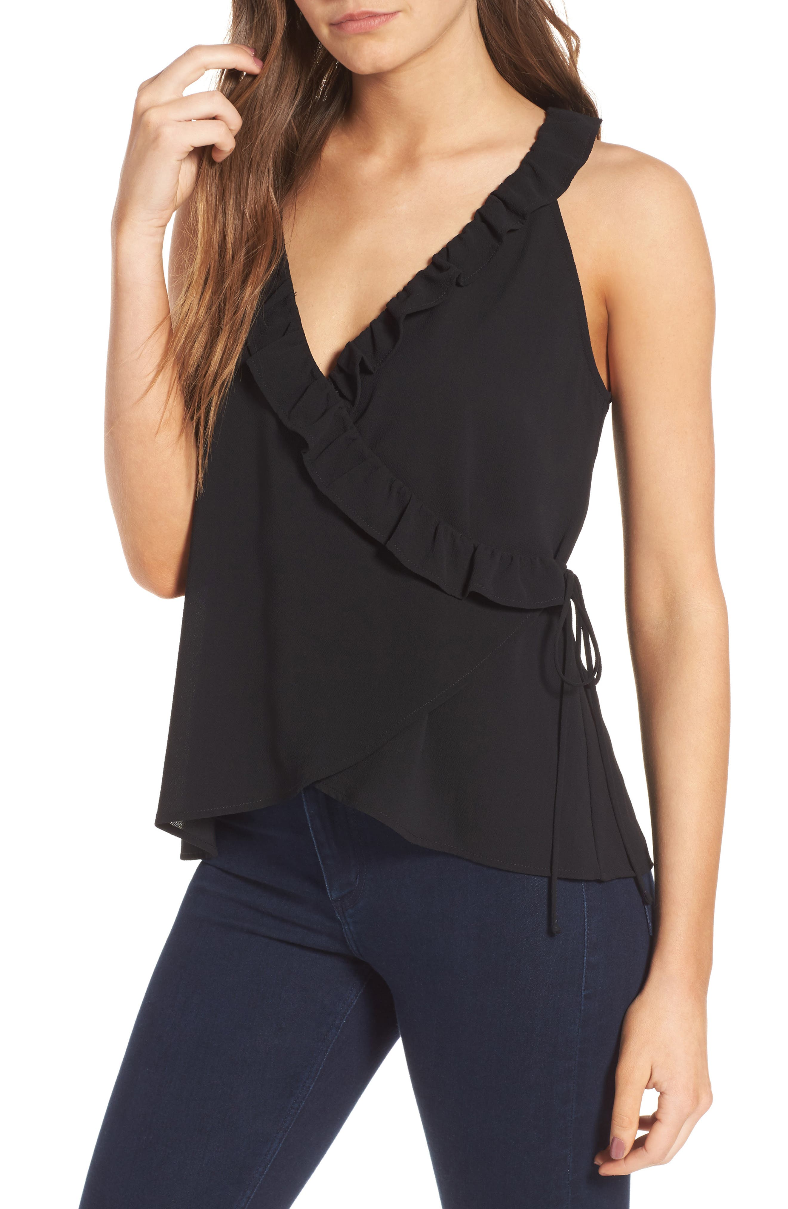 Alternate Image 1 Selected - Leith Ruffle Ruffle Wrap Tank