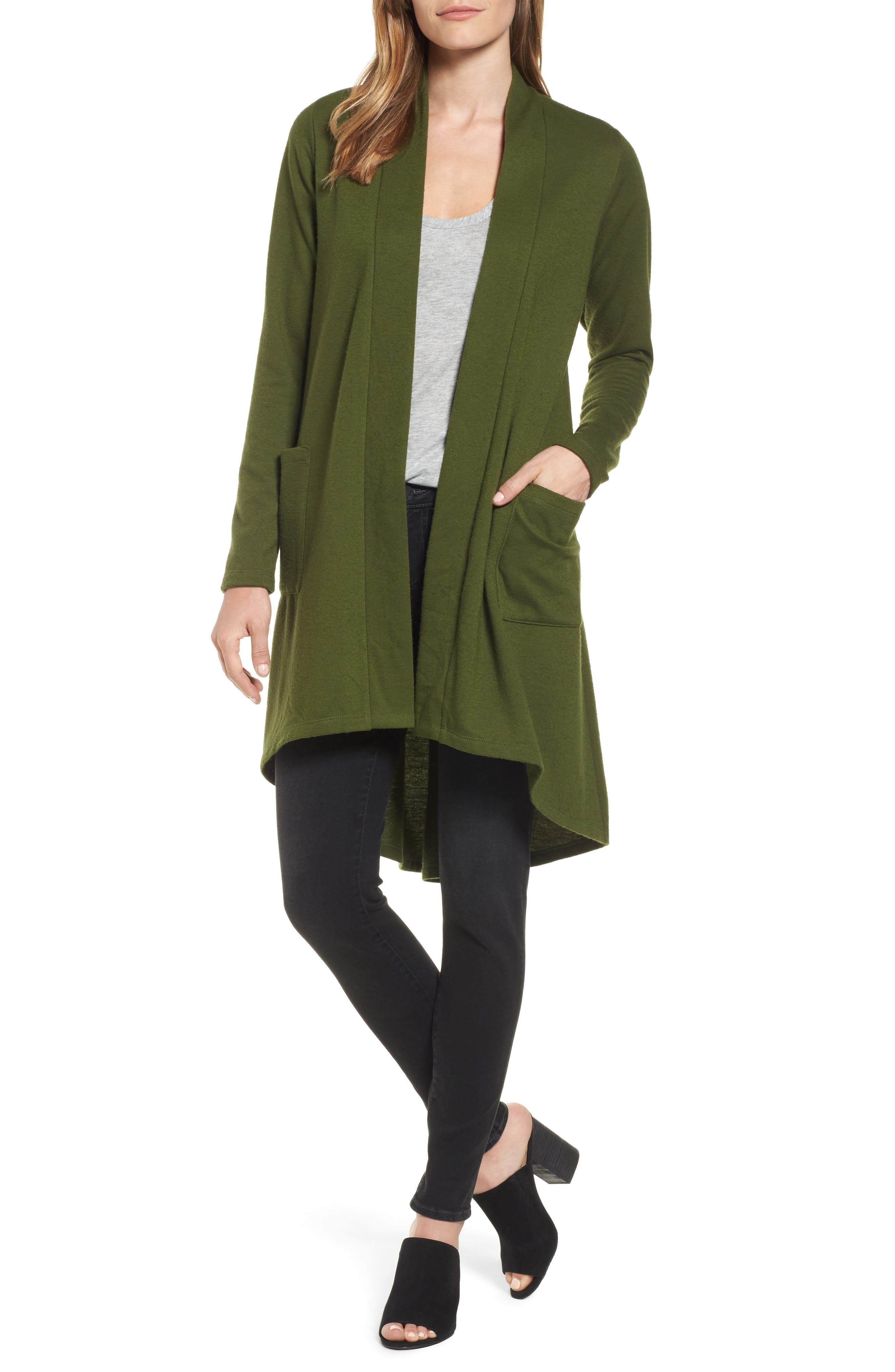 Bobeau High/Low Fleece Knit Cardigan (Regular & Petite)