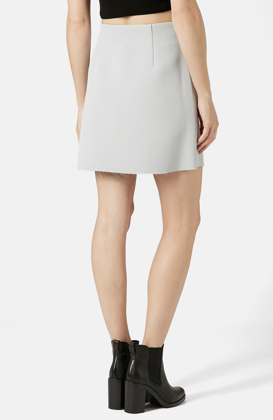 Alternate Image 2  - Topshop Distressed Crepe A-Line Skirt