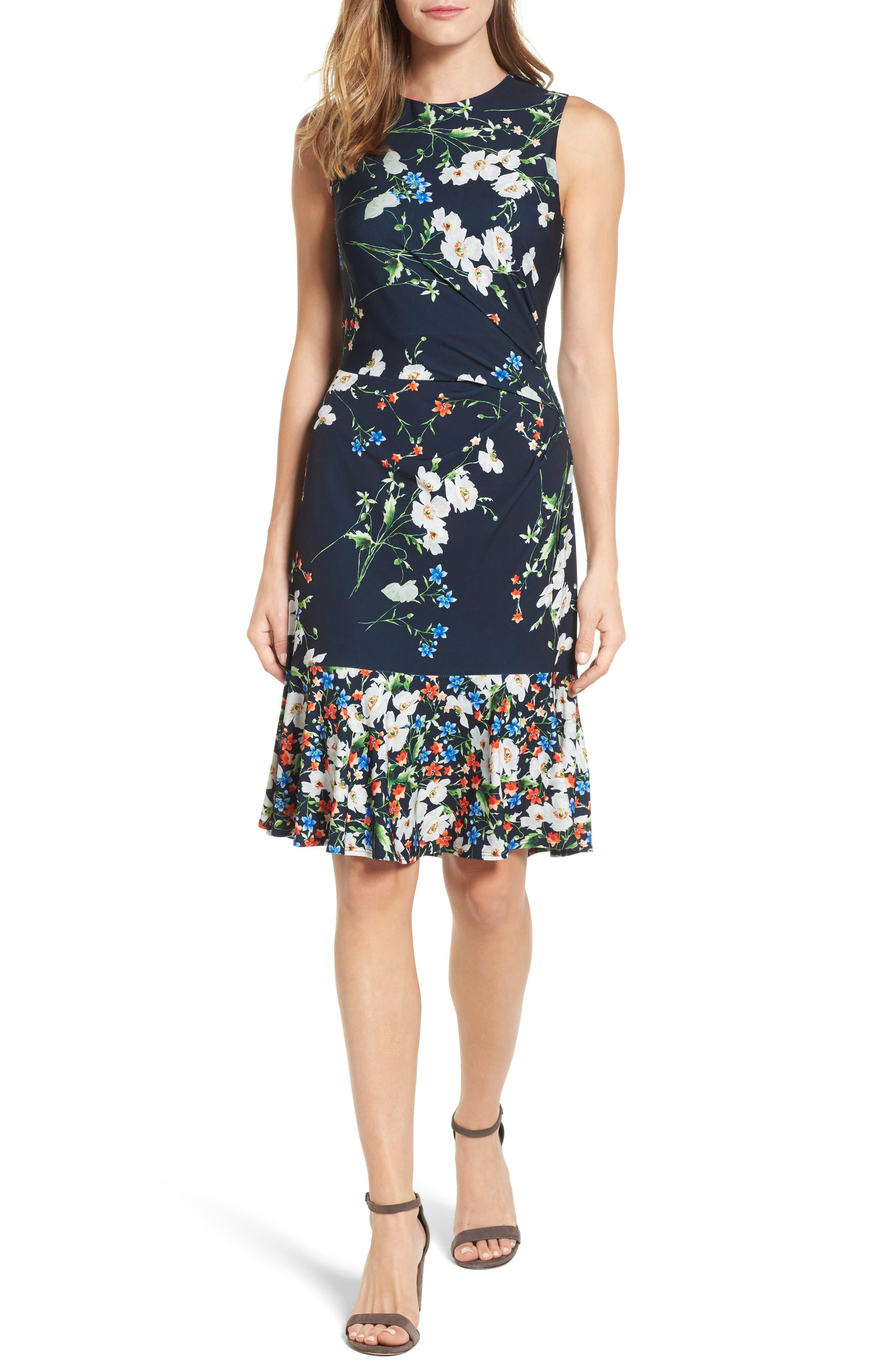 Eliza J Jersey Fit & Flare Dress