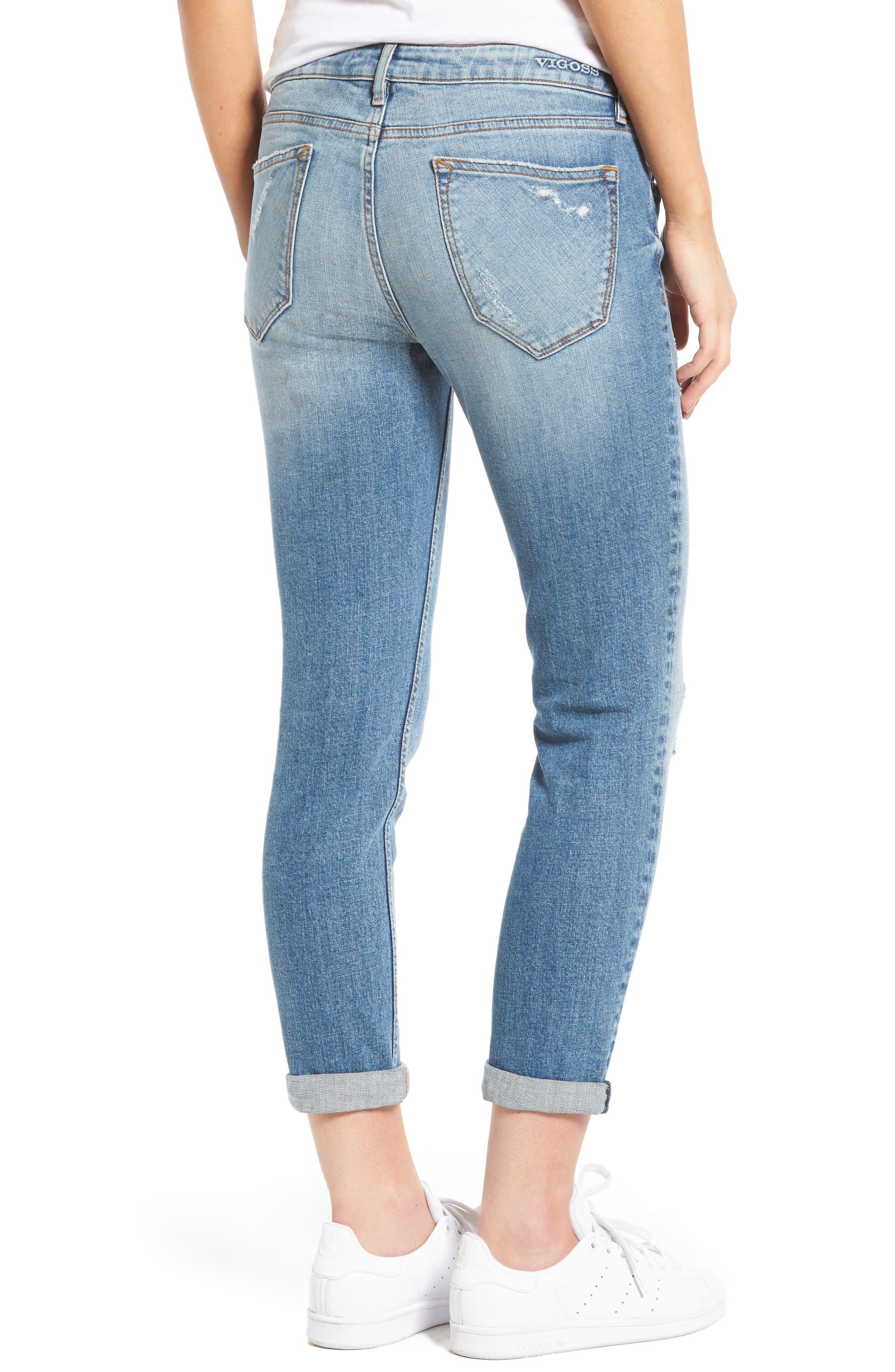 Alternate Image 2  - Vigoss Tomboy Ripped Skinny Jeans