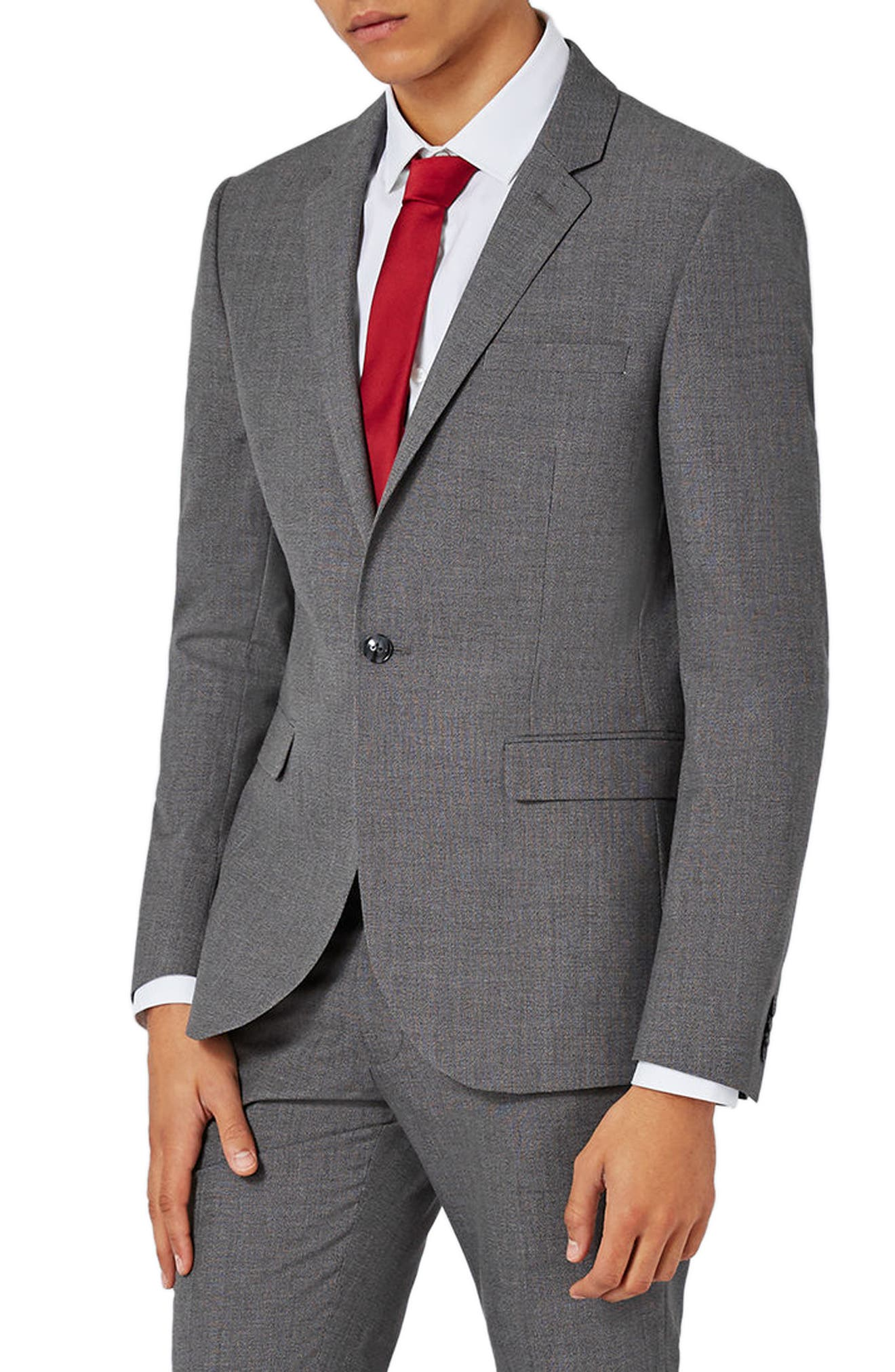 TOPMAN Textured Skinny Fit Suit Jacket
