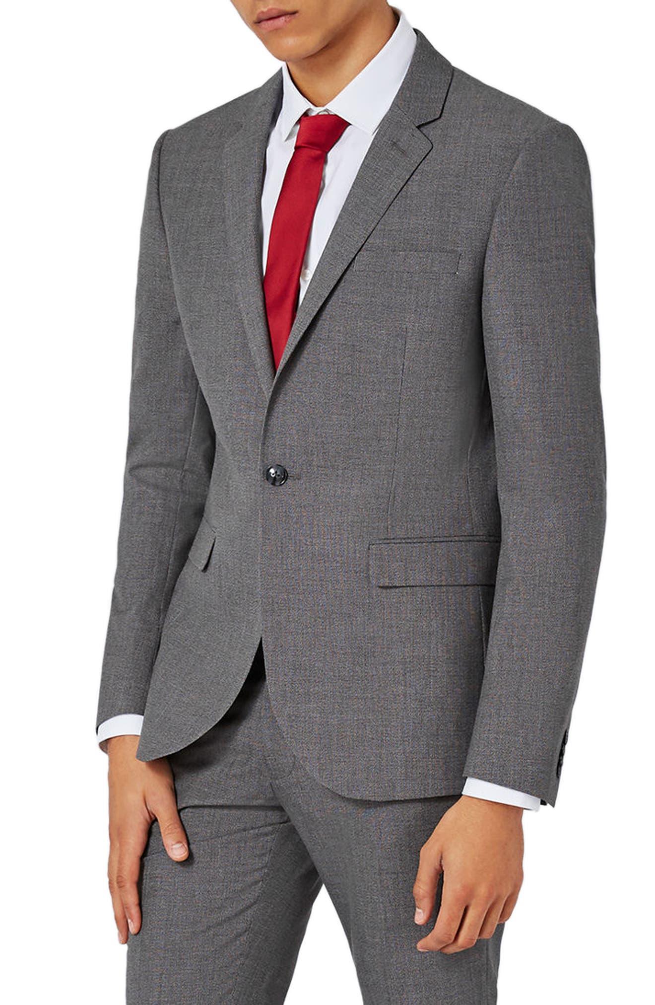 Topman Textured Skinny Fit Suit Jacket
