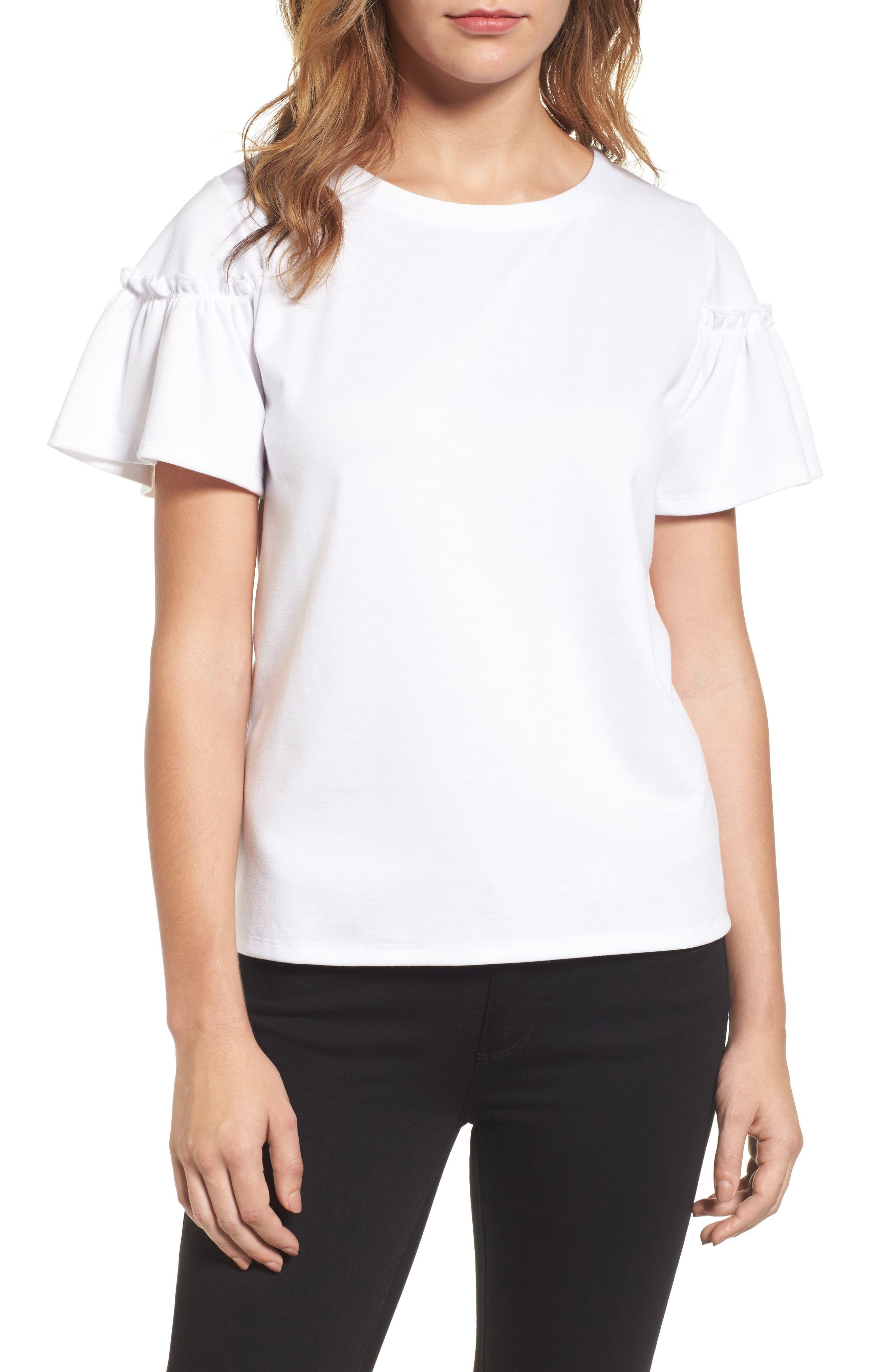 Halogen® Ruffle Sleeve Top (Regular & Petite)