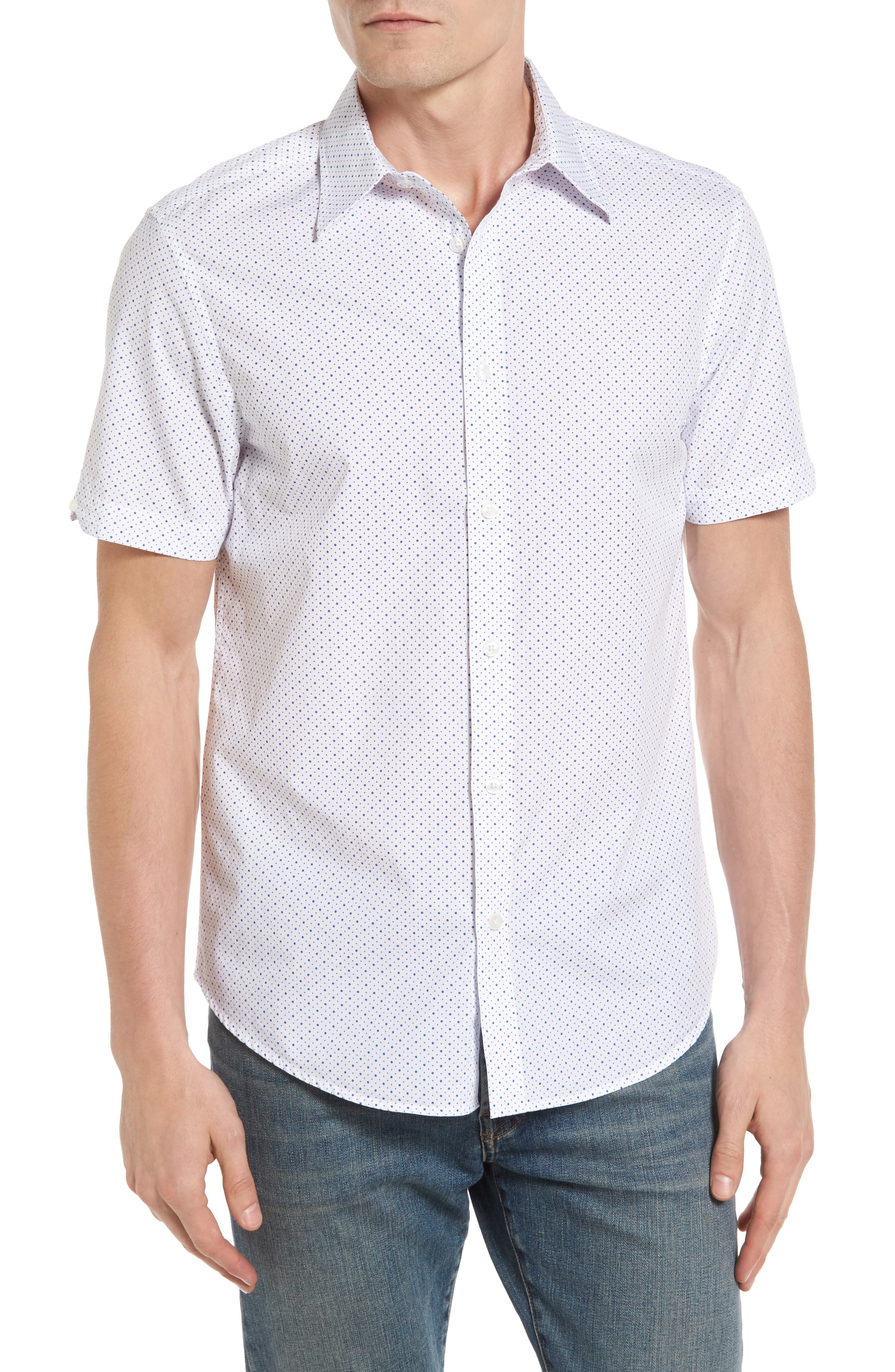 Ben Sherman Polka Dot Modern Fit Short Sleeve Shirt