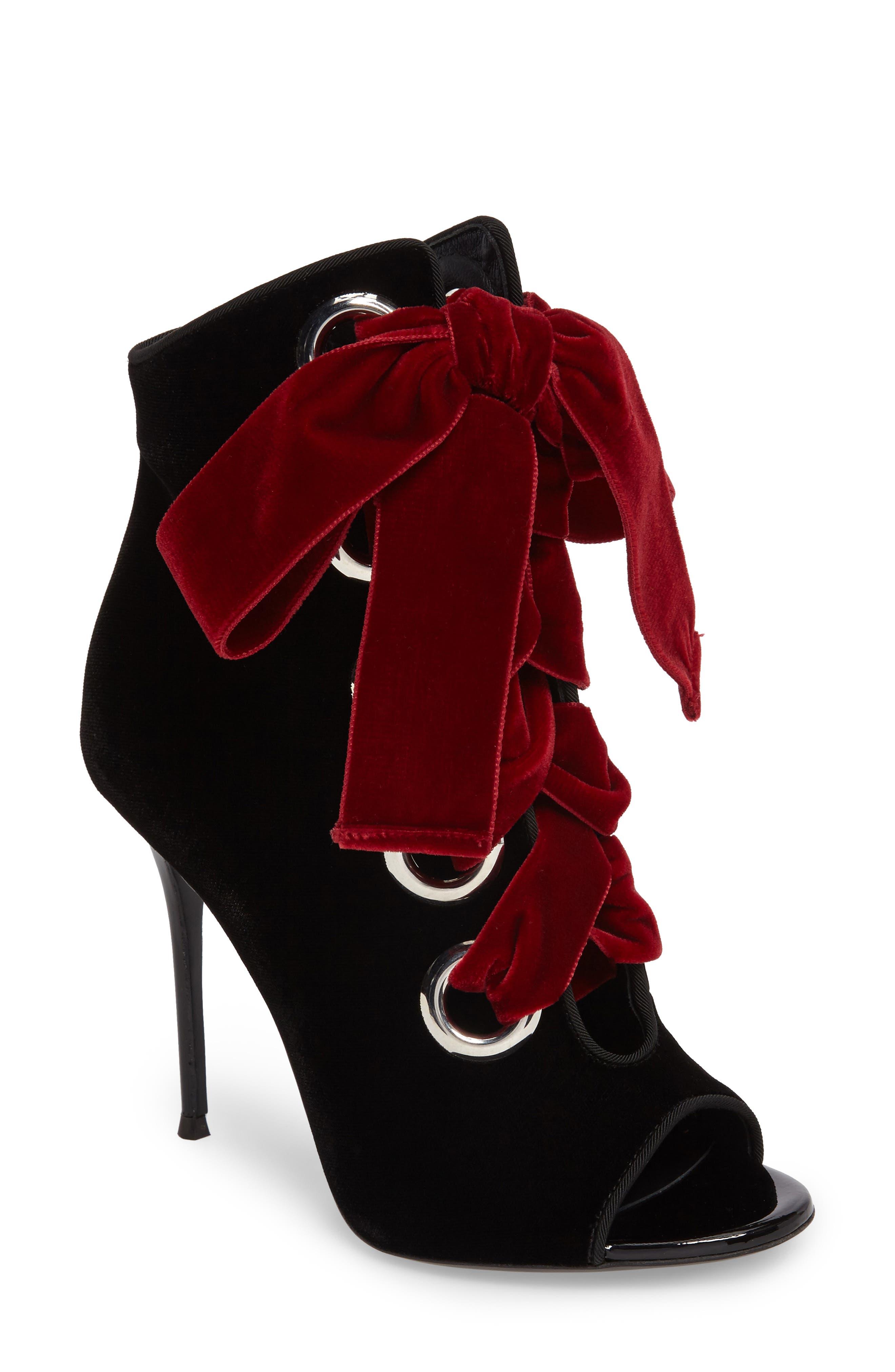 Main Image - Giuseppe Zanotti Velvet Lace-Up Bootie (Women)