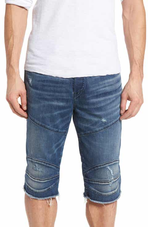 True Religion Brand Jeans Rocco Biker Cutoff Denim Shorts (Endless Road)