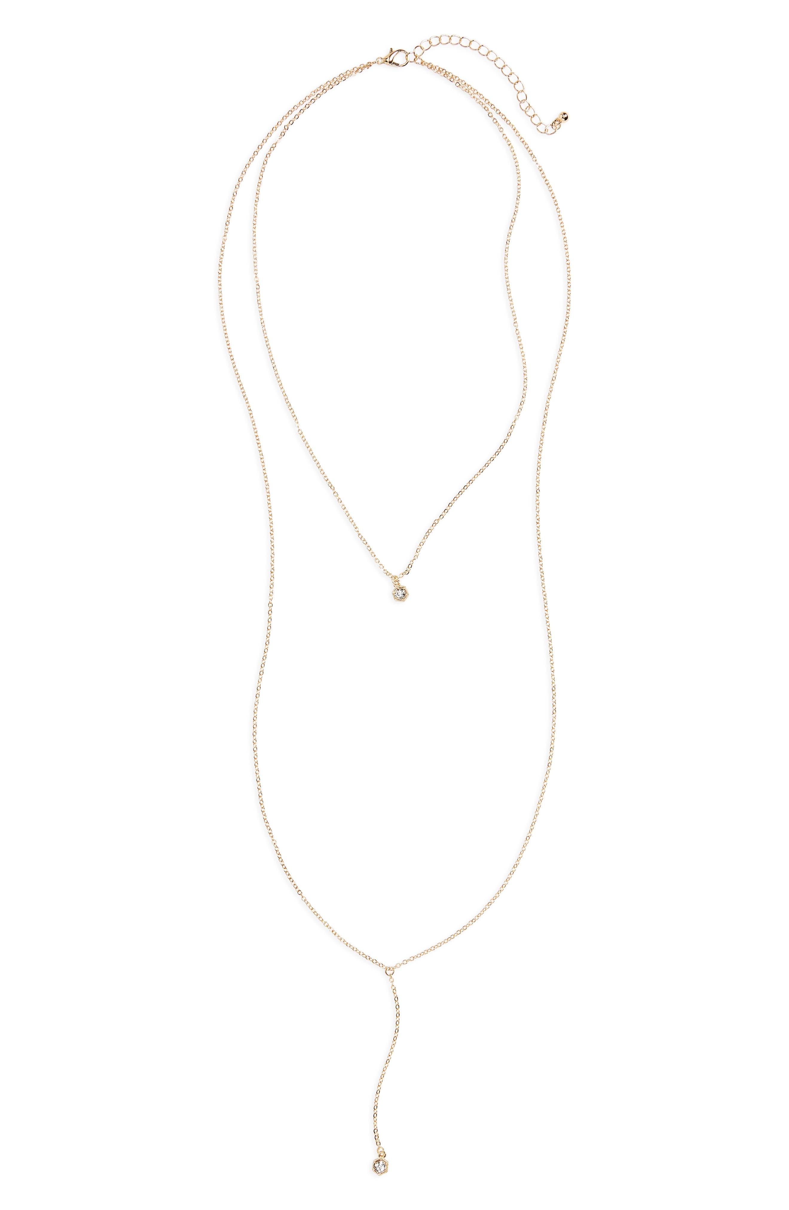 BP. Layered Crystal Y-Necklace