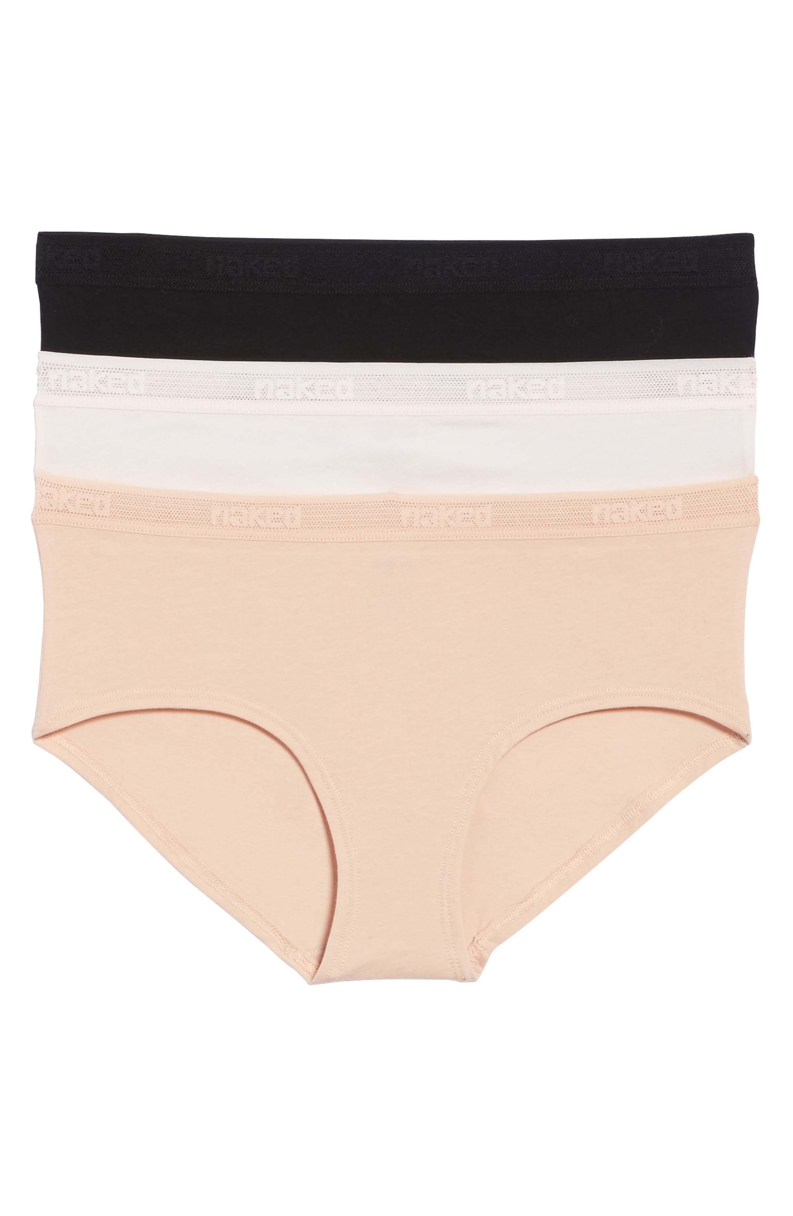 Naked 3-Pack Stretch Pima Cotton Hipster Briefs