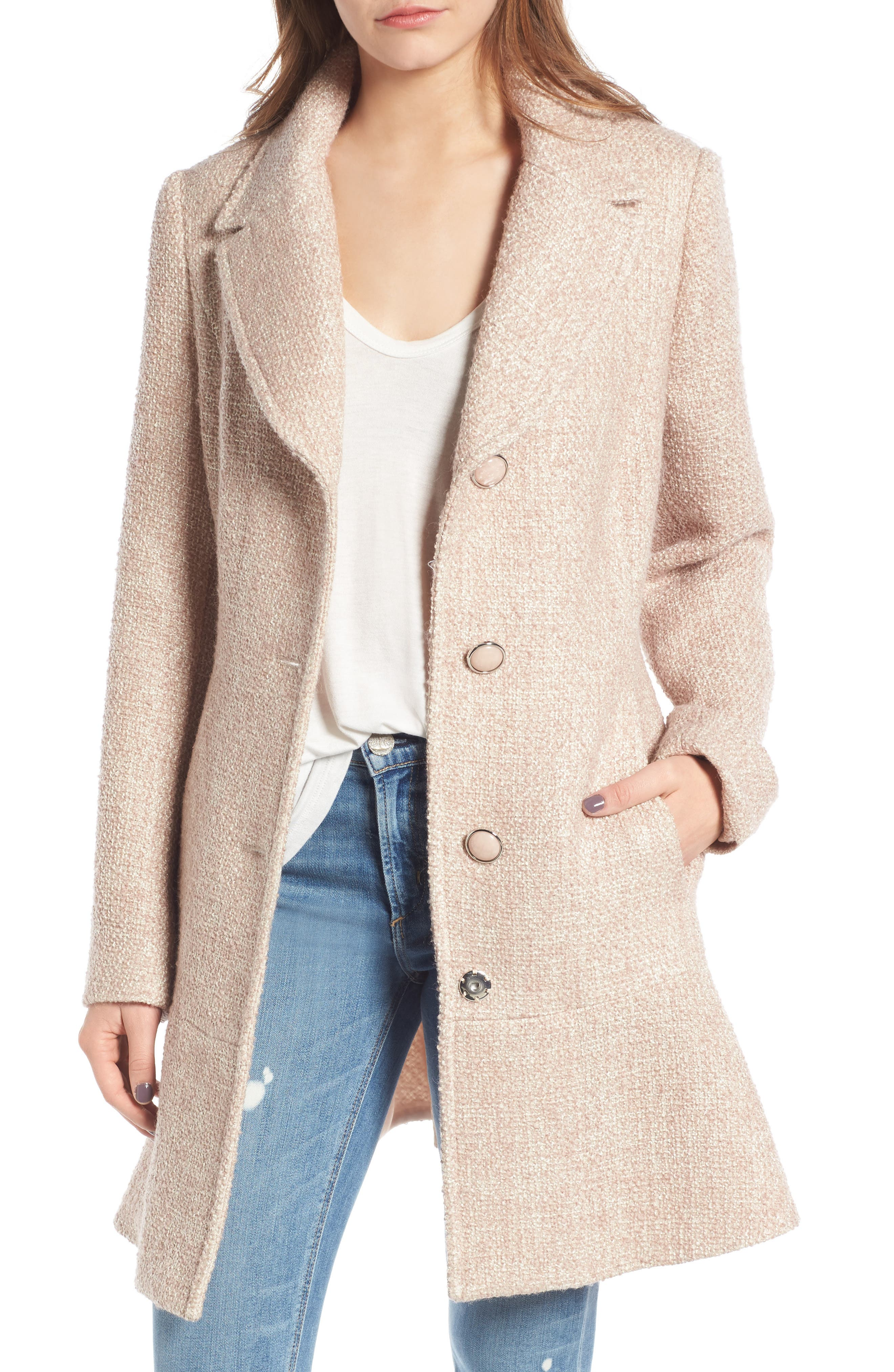 kensie Skirted Tweed Coat