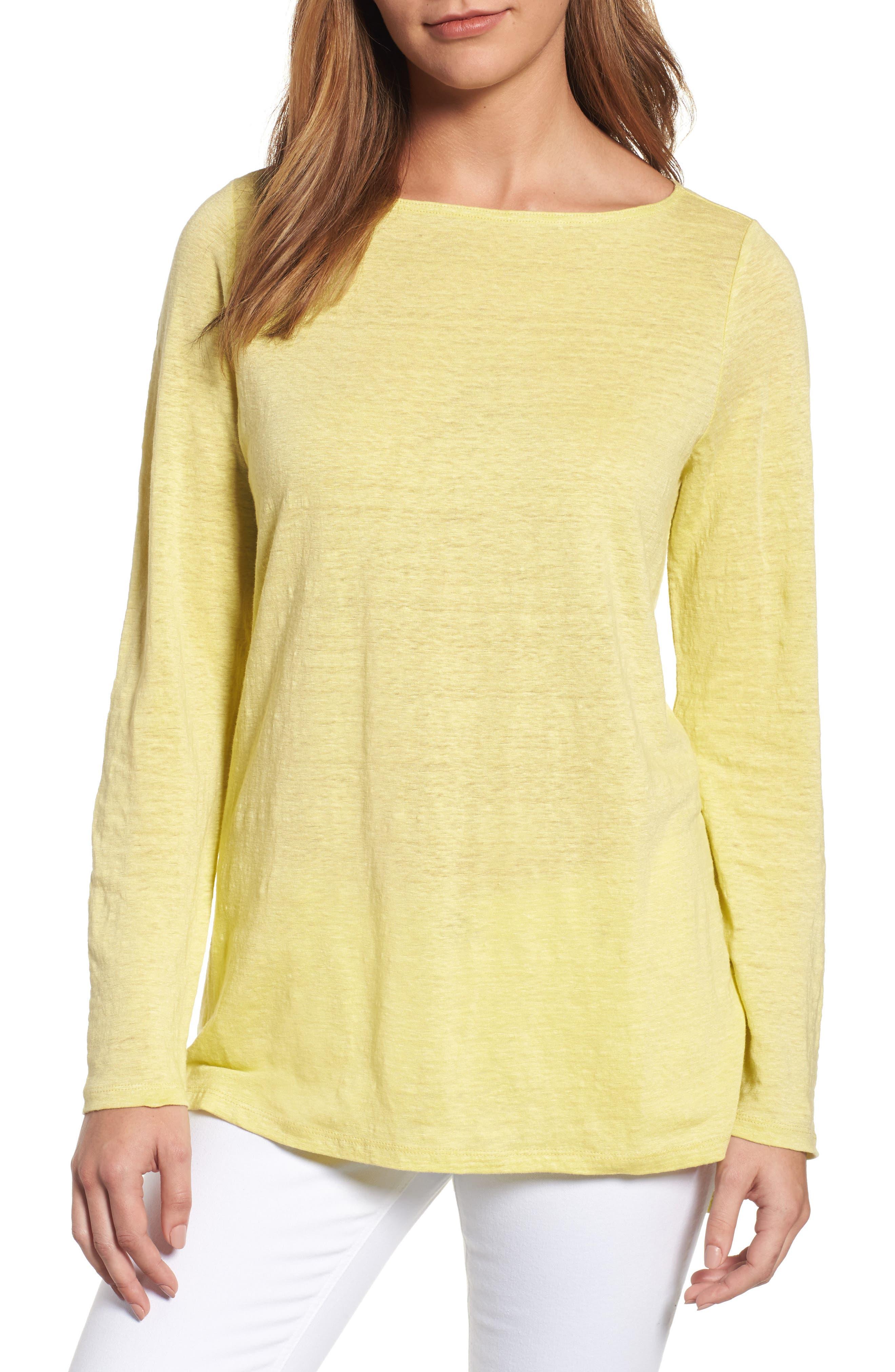 Eileen Fisher Organic Linen Bateau Neck Sweater