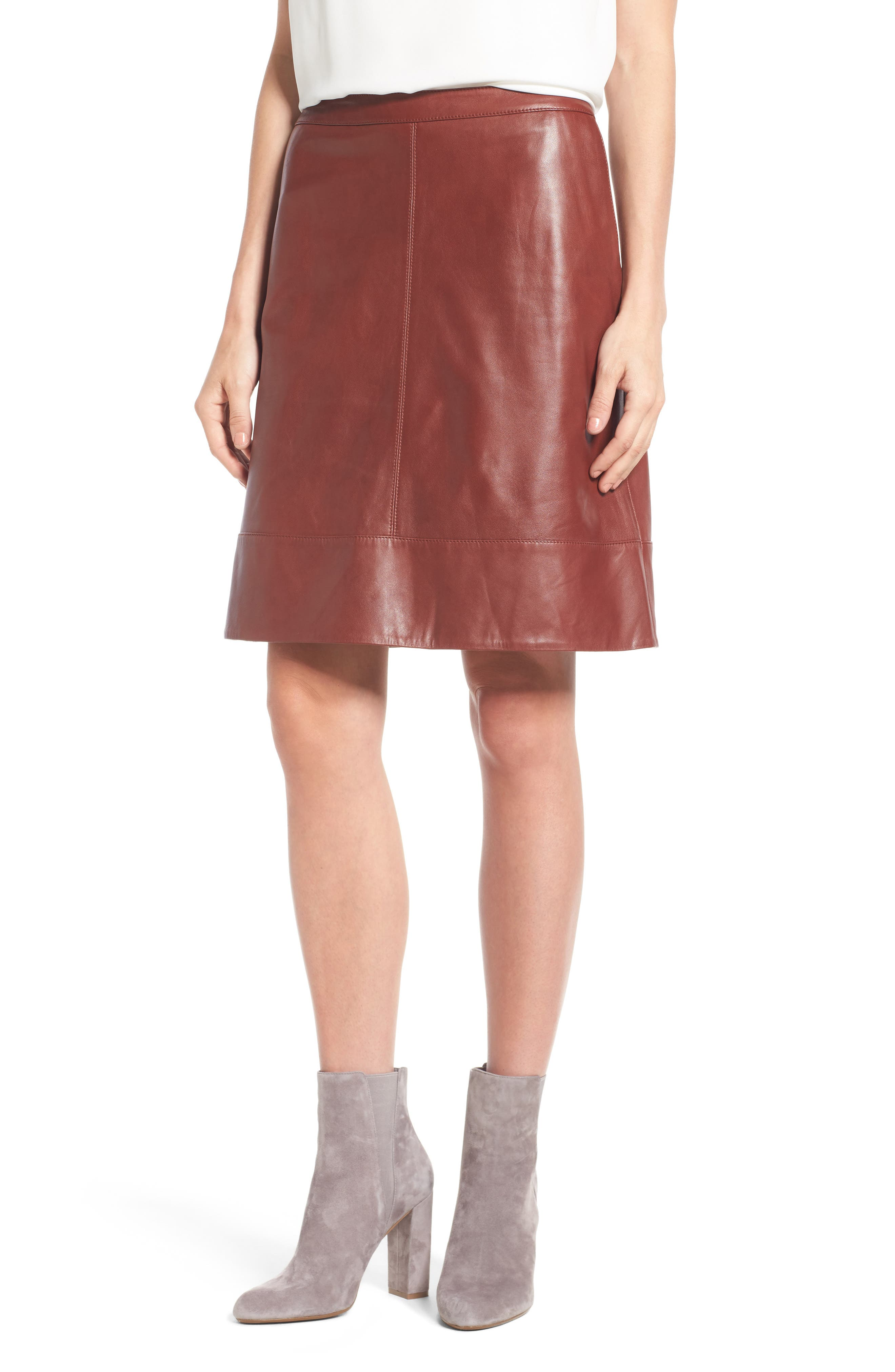 Halogen® A-Line Leather Skirt (Regular & Petite)