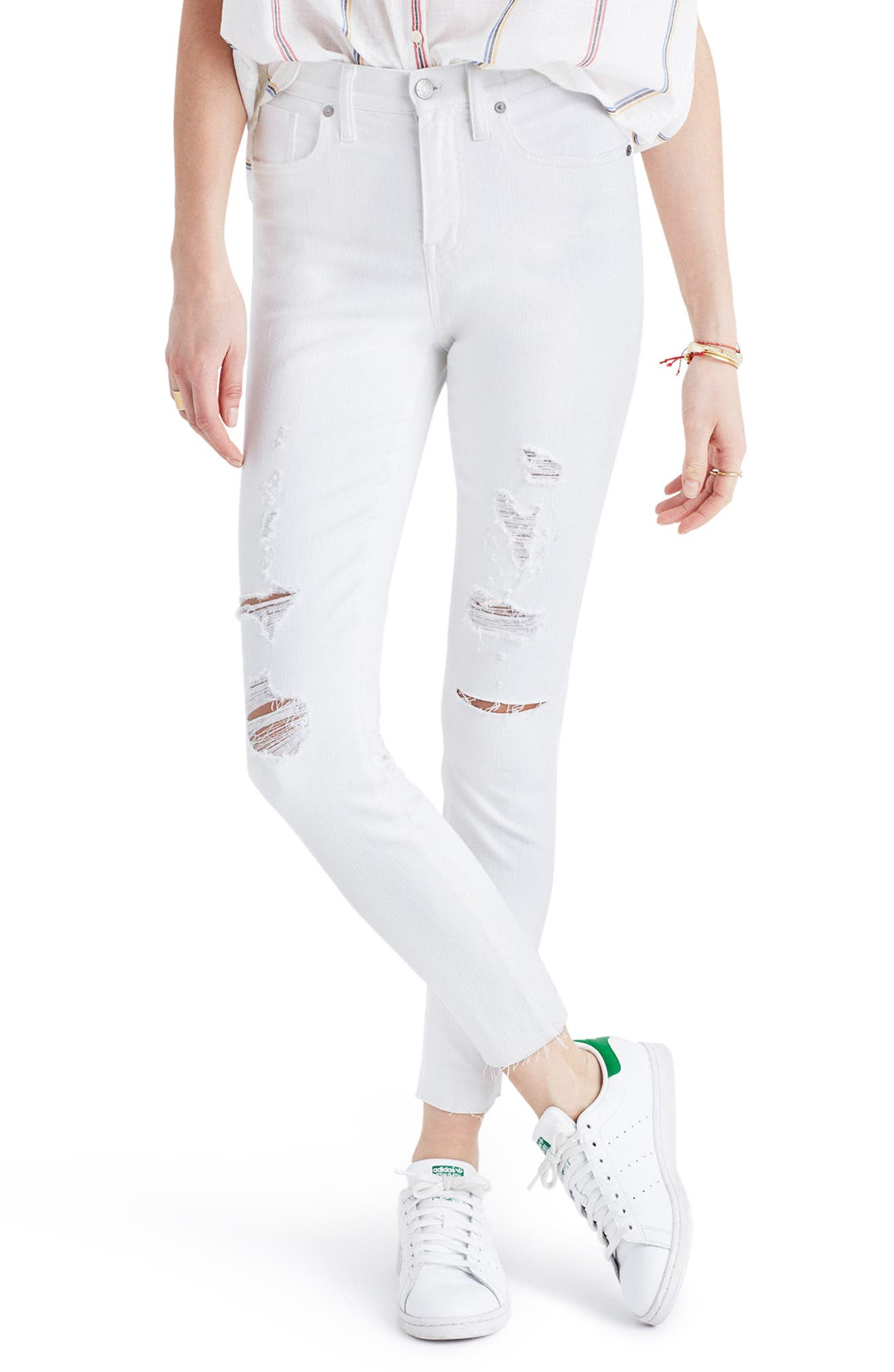 Main Image - Madewell High Rise Ripped Crop Skinny Jeans (Pure White)