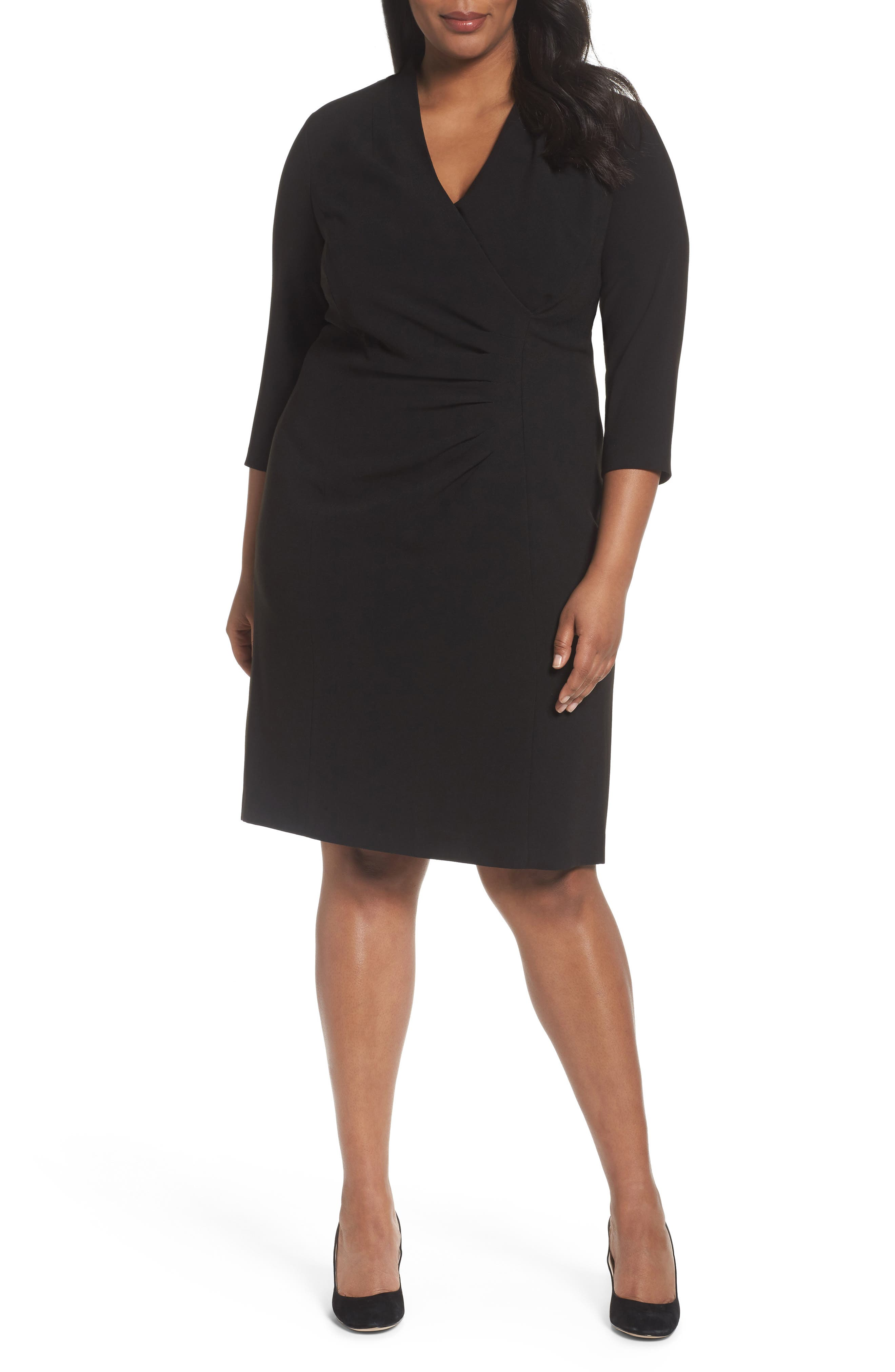 Tahari Side Pleat Crepe Sheath Dress (Plus Size)