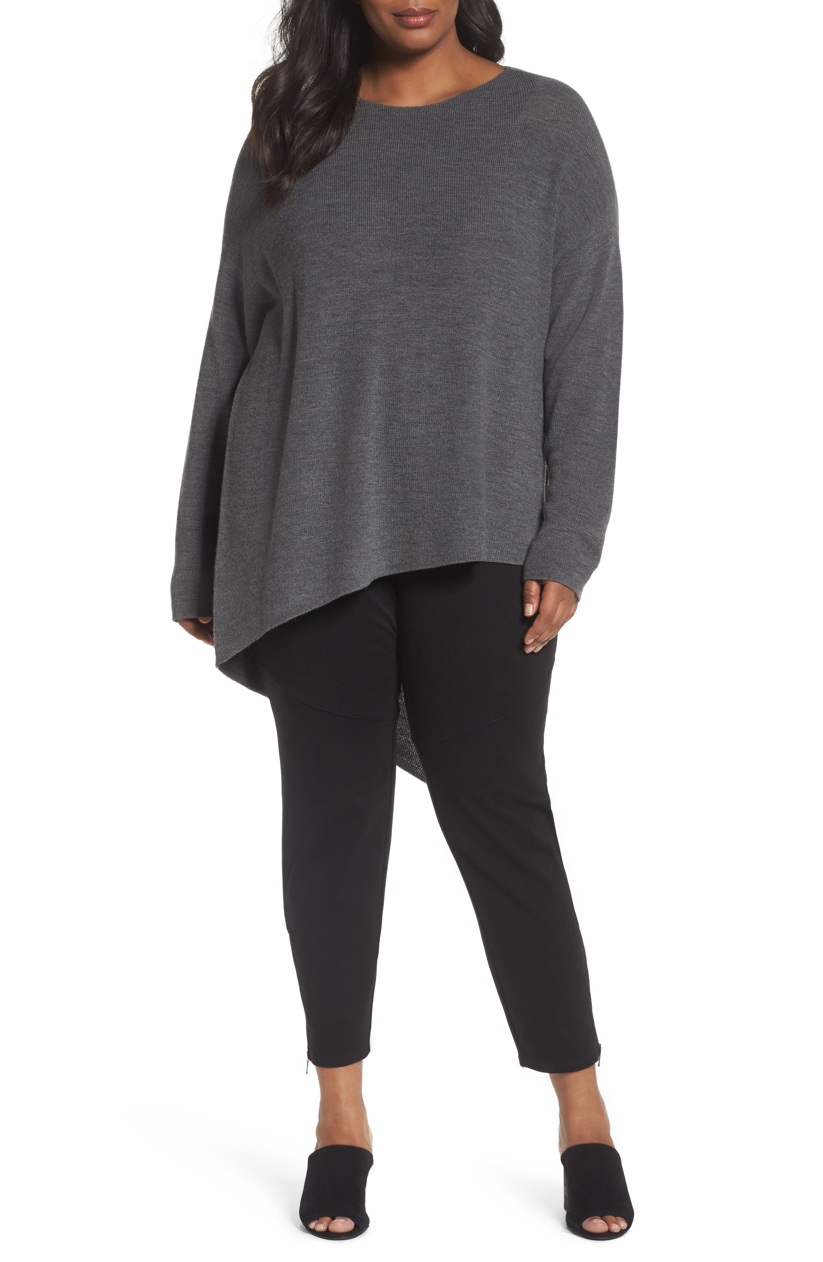 Eileen Fisher Asymmetrical Merino Wool Pullover (Plus Size)