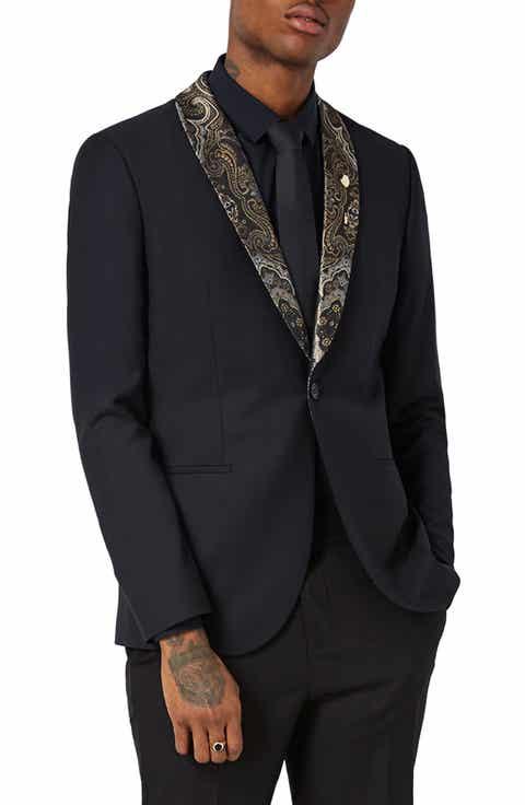 Topman Skinny Fit Tuxedo Jacket with Paisley Shawl Lapel