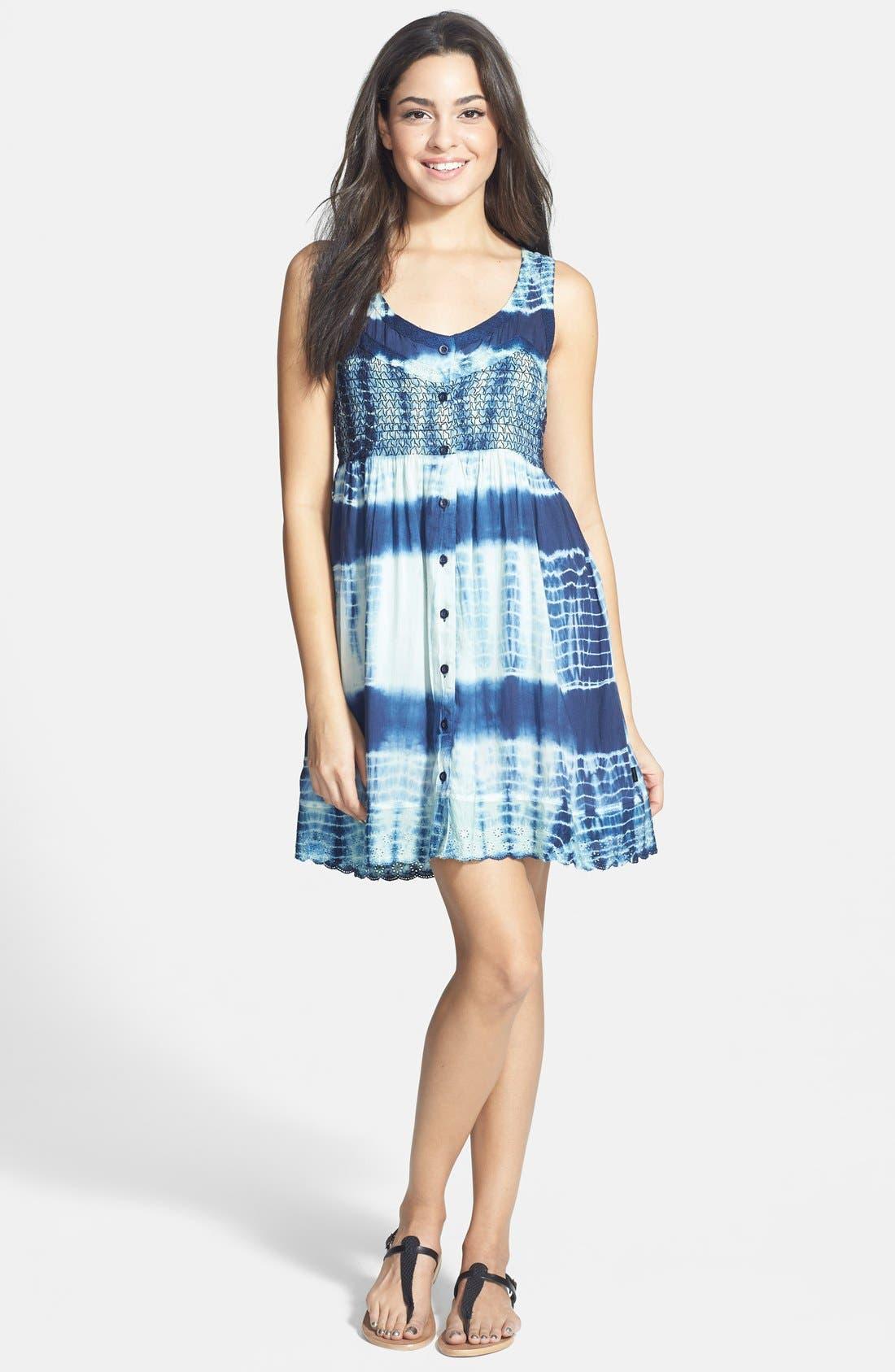 Main Image - Volcom 'Freudian Slip' Tie Dye Babydoll Dress