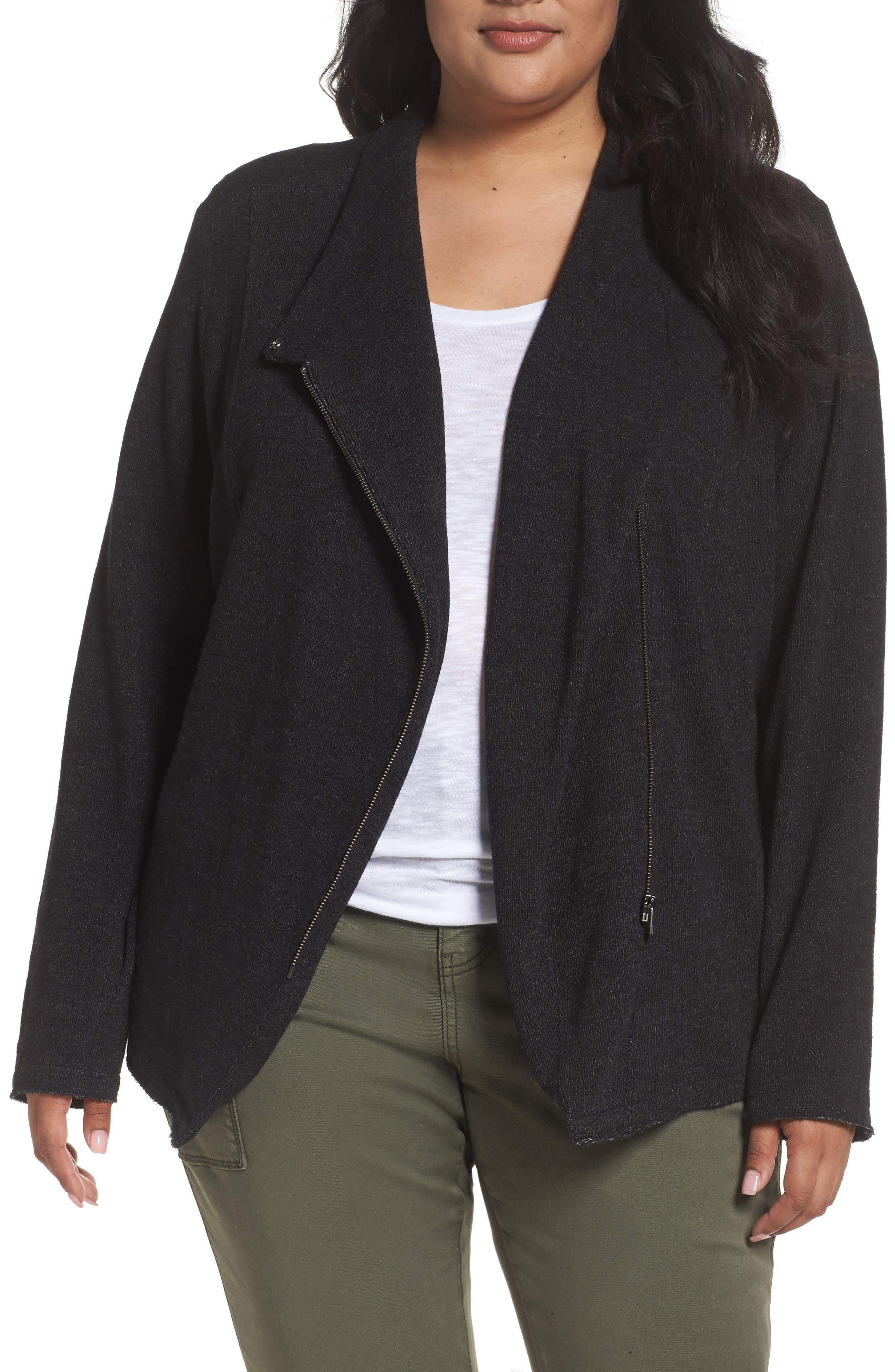 Caslon® Knit Moto Jacket (Plus Size)