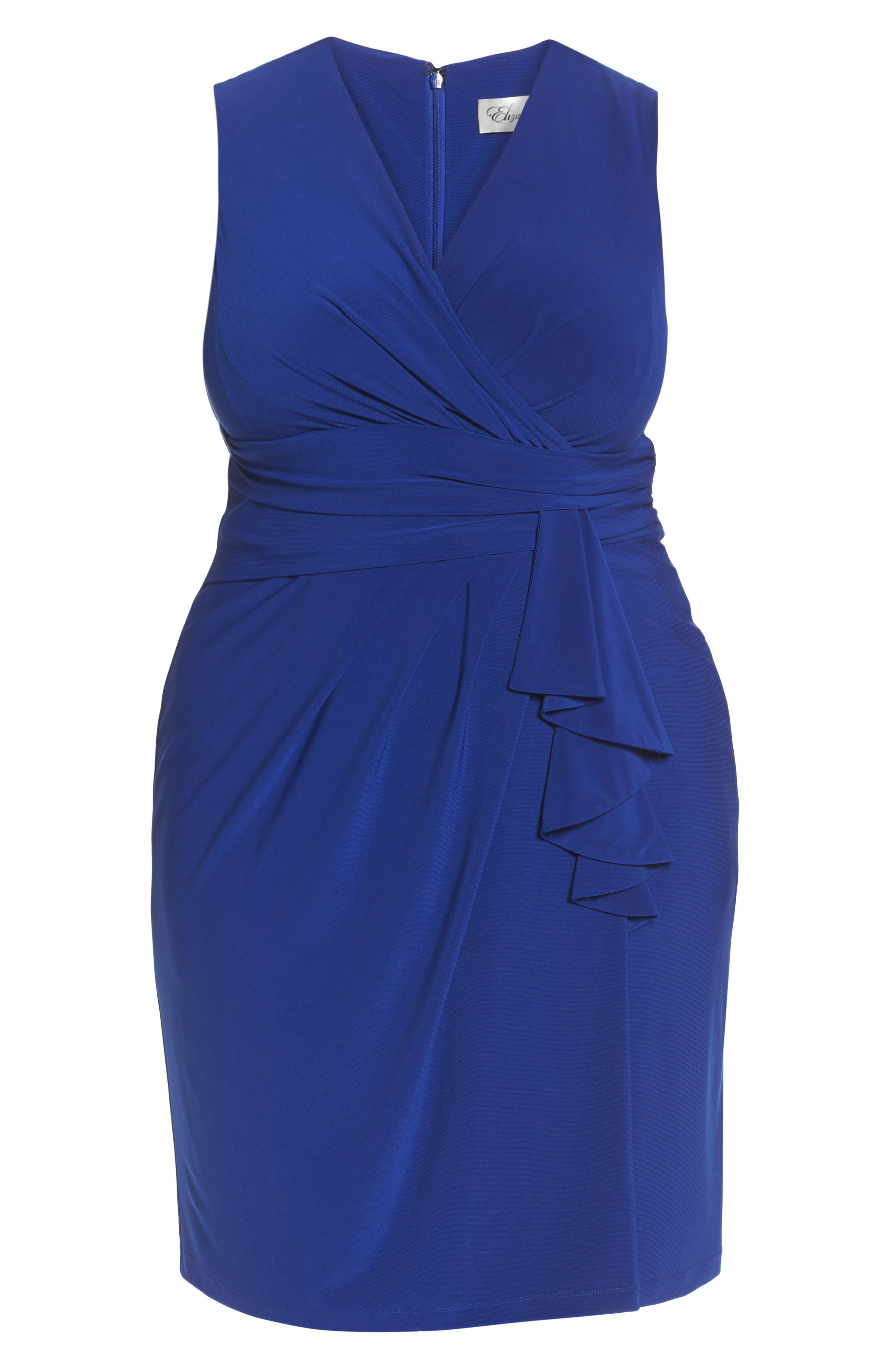 Alternate Image 6  - Eliza J Side Ruffle Faux Wrap Jersey Dress (Plus Size)