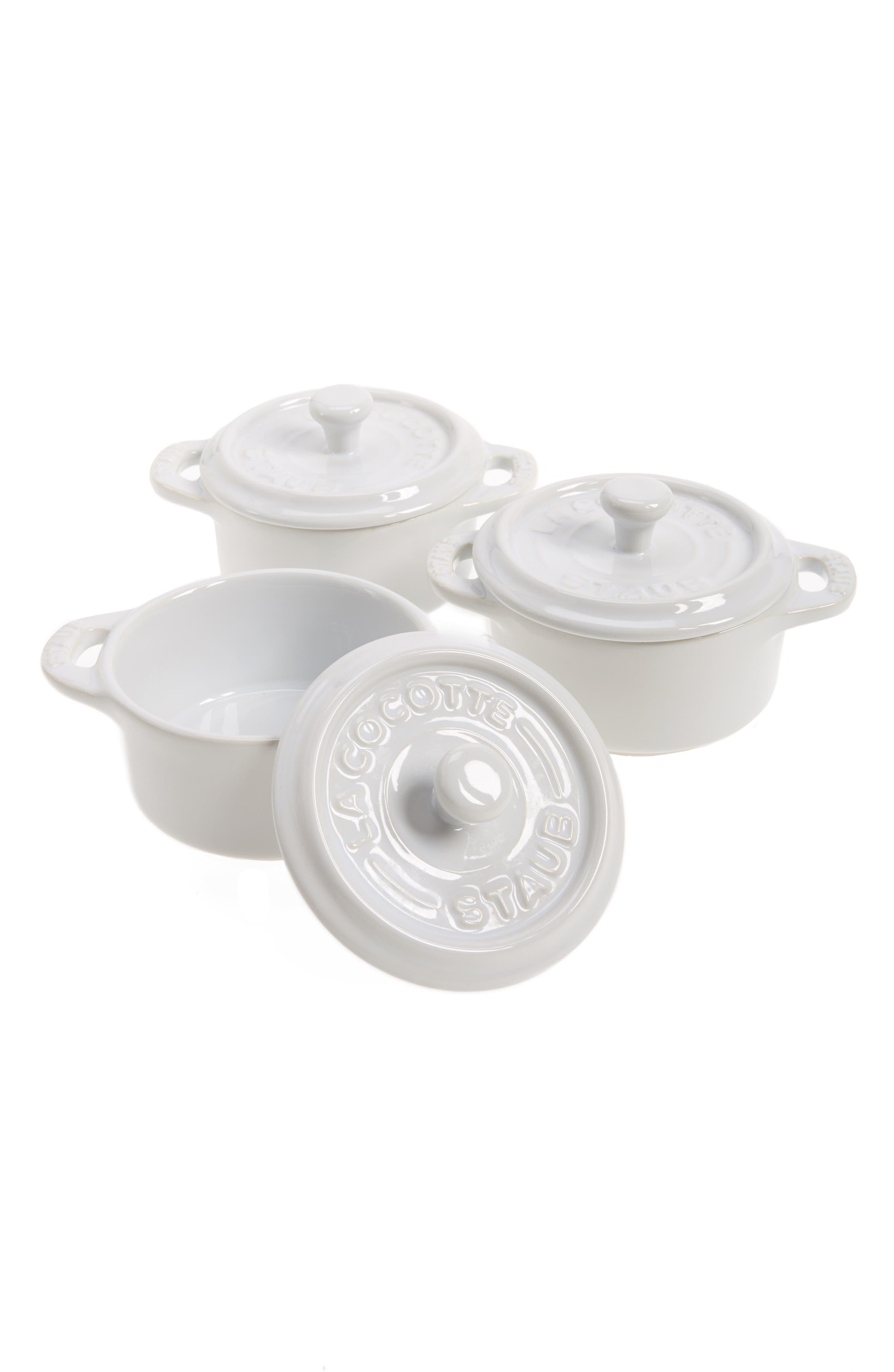 Staub Set of 3 Mini Round Ceramic Cocottes