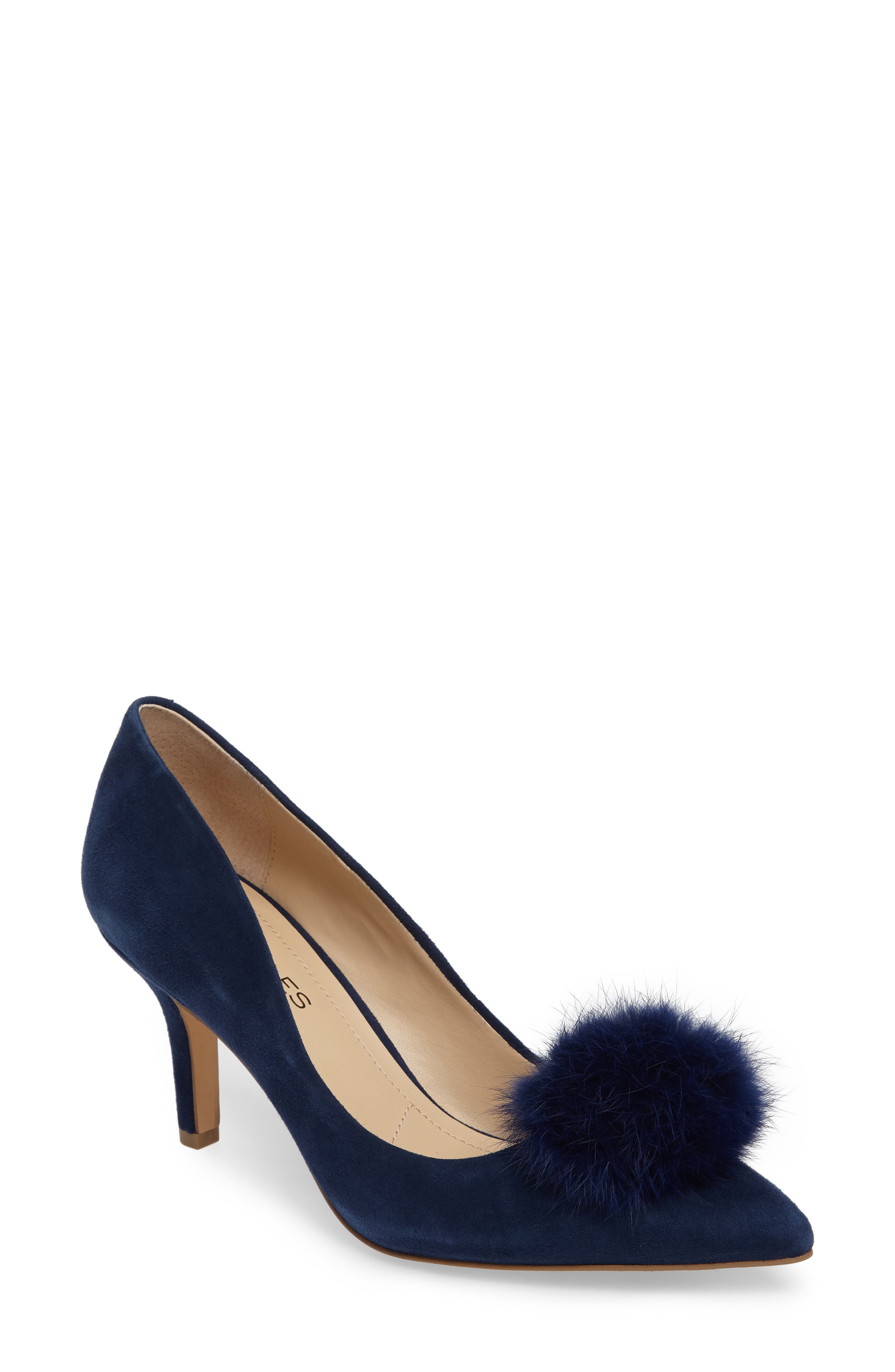 Charles by Charles David Sadie Genuine Rabbit Fur Pom Pump (Women)